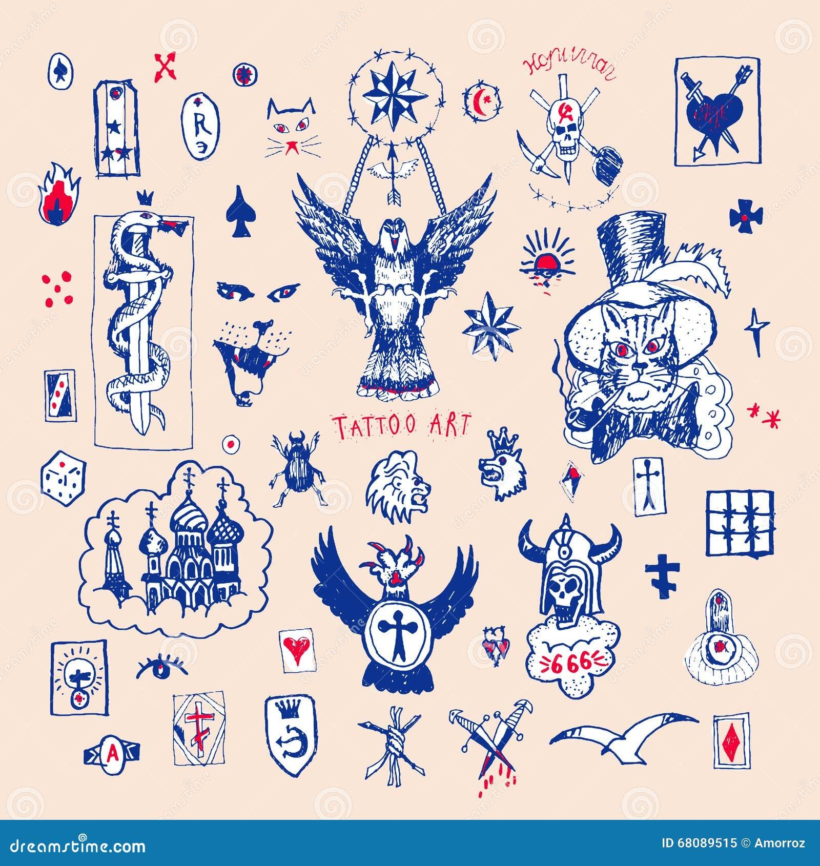 Tatouage Criminel Russe Grand Ensemble De Vecteur De Tatouage Illustration De Vecteur Image