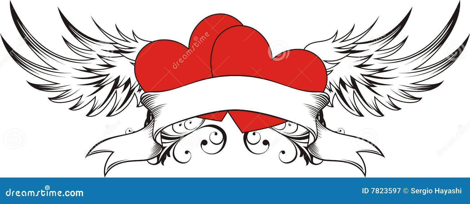 Tatouage d 39 amoureux de coeur illustration de vecteur illustration du amour ailes 7823597 - Coeur d amoureux ...