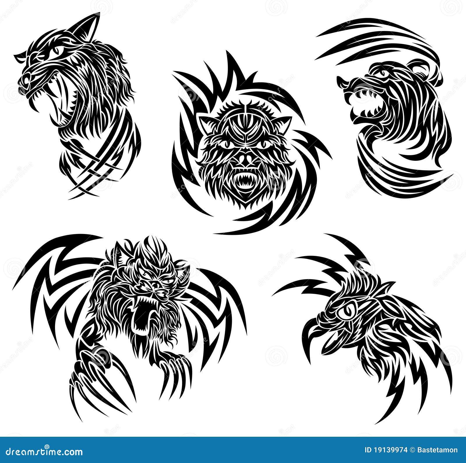 Tatouage d 39 animaux sauvages illustration de vecteur - Images d animaux sauvages gratuites ...