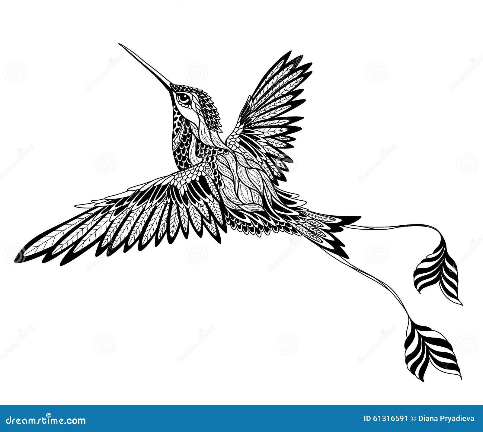 tatouage d 39 oiseau psych d lique style de zentangle illustration de vecteur image 61316591. Black Bedroom Furniture Sets. Home Design Ideas