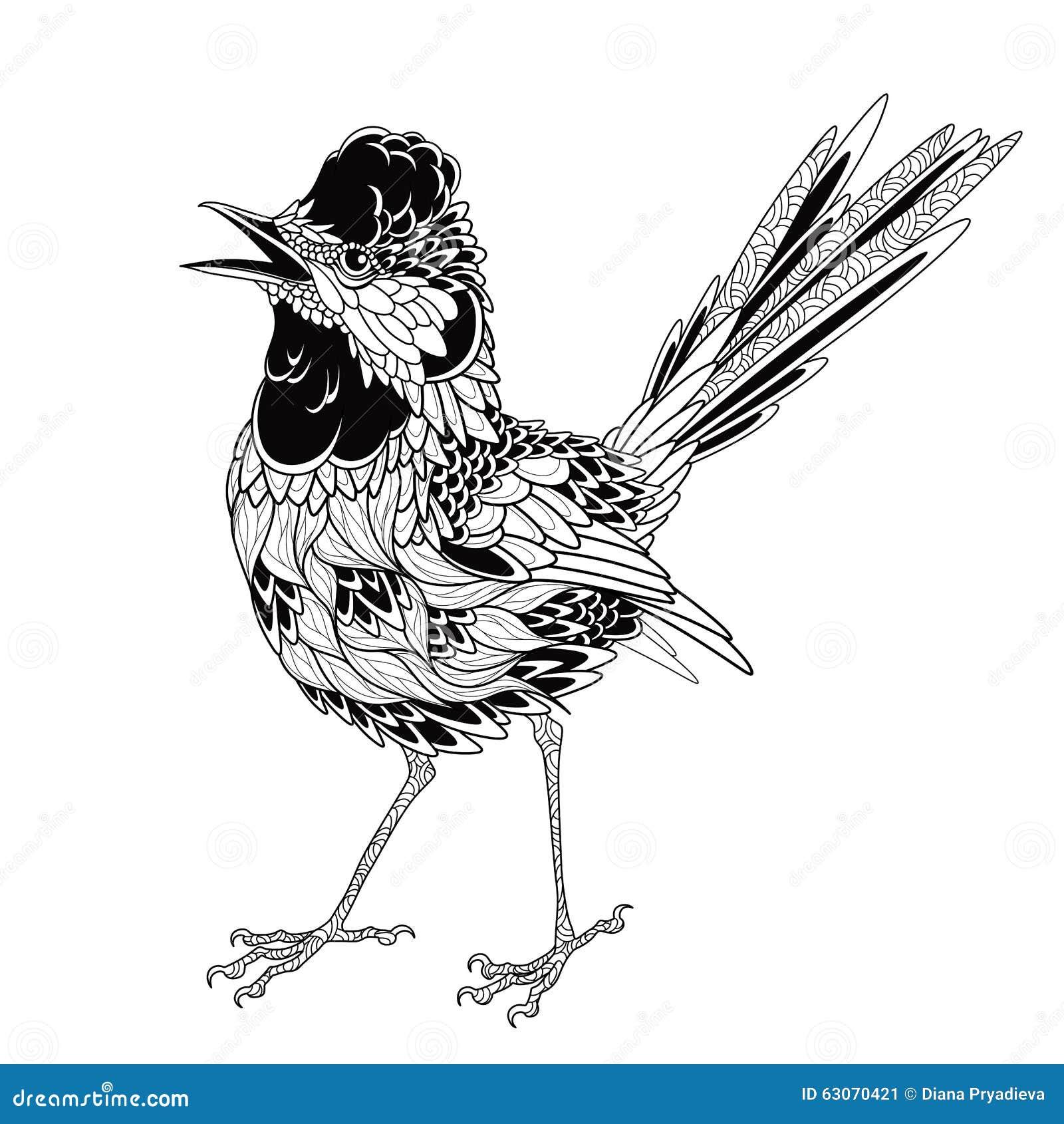 Tatouage D Oiseau Psych 233 D 233 Lique Style De Zentangle