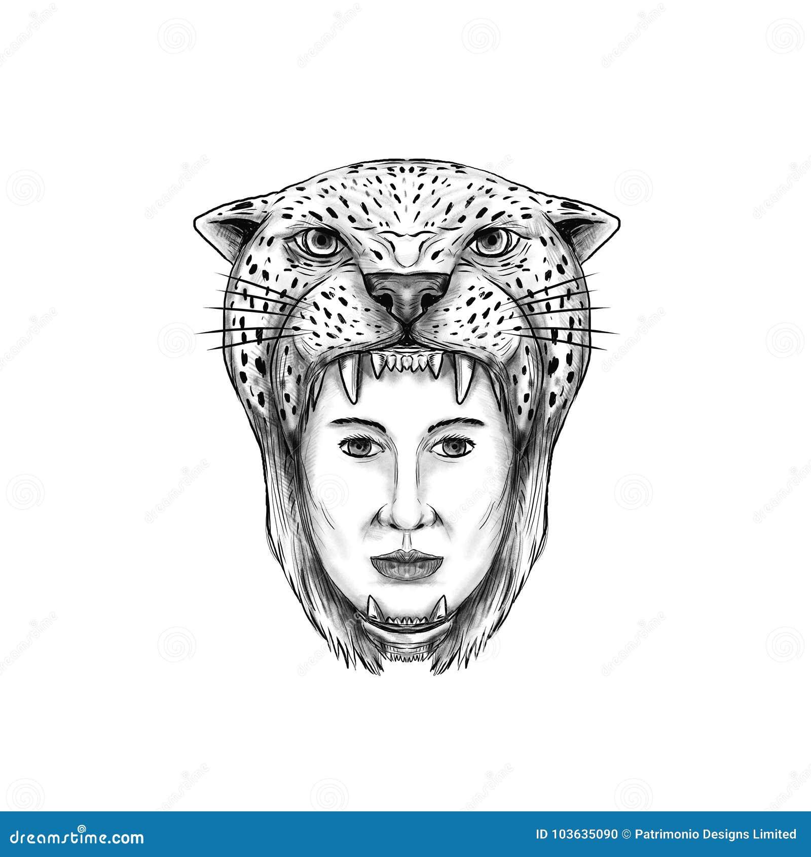 Tatouage de coiffe de Jaguar de guerrier d Amazone