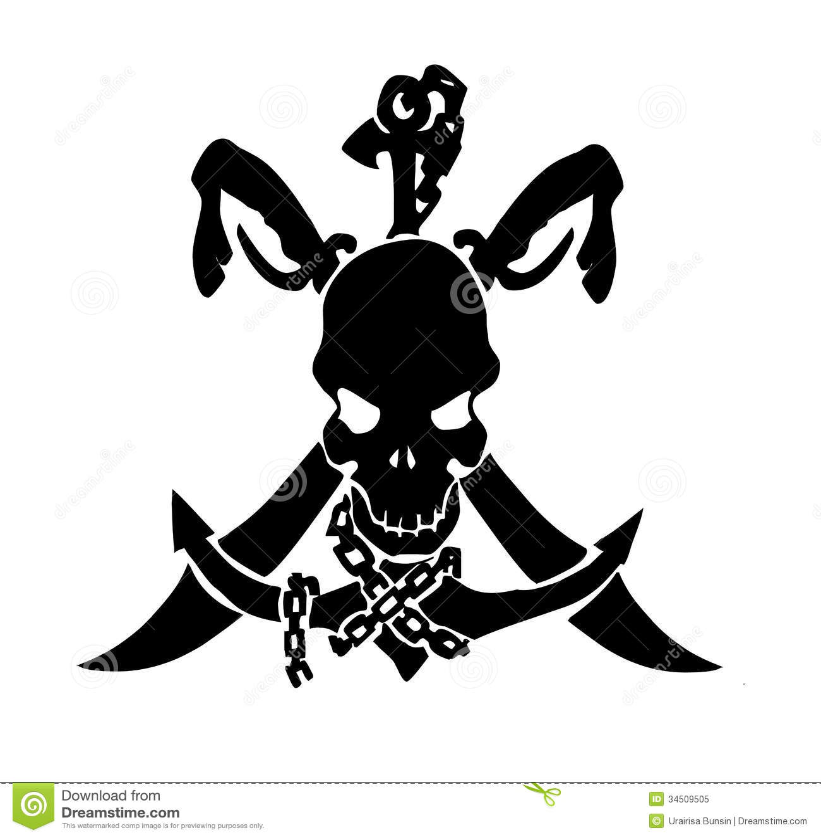 tatouage de cr ne de pirate photo libre de droits image 34509505. Black Bedroom Furniture Sets. Home Design Ideas