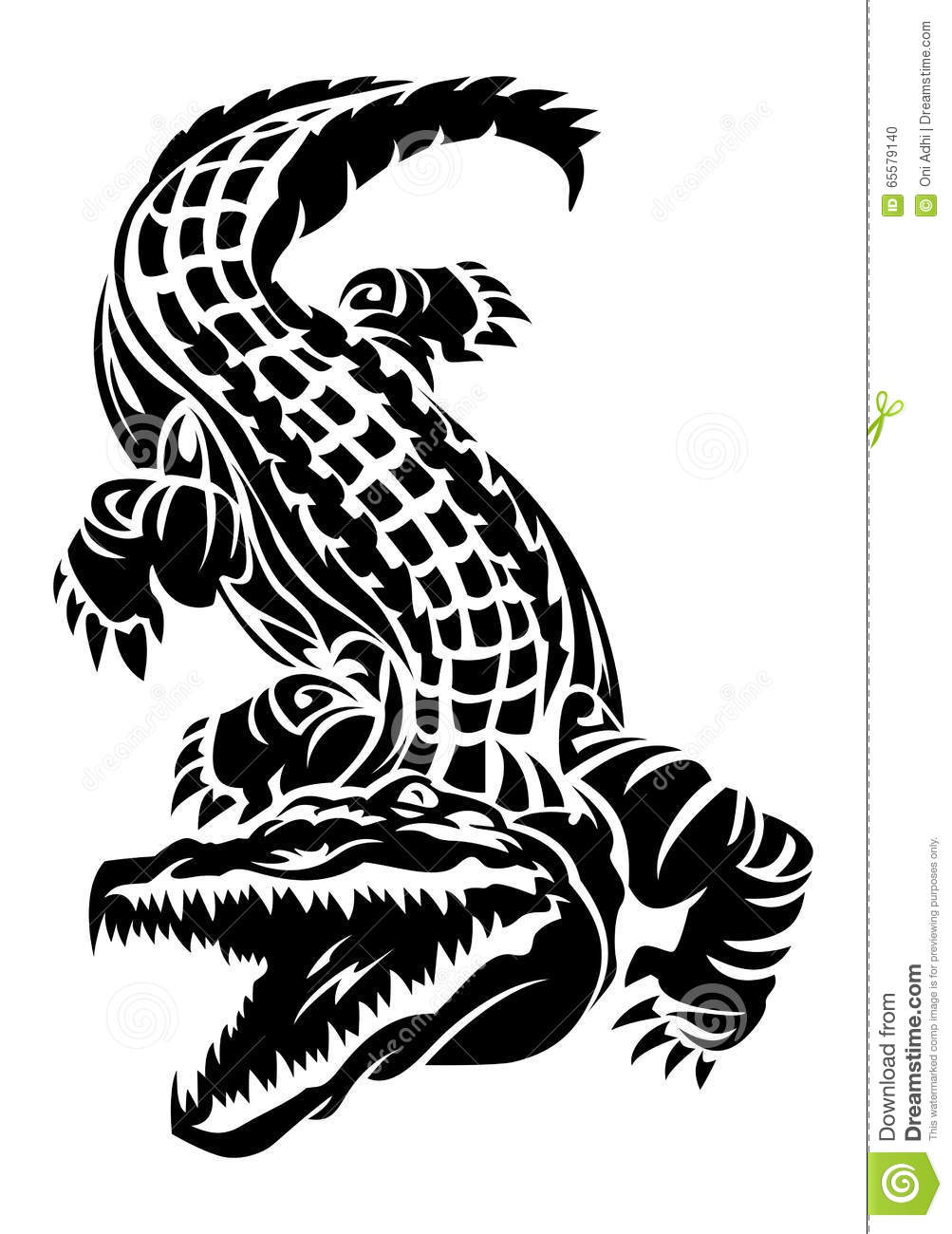 Tatouage De Crocodile Sur Le Fond Blanc D Isolement