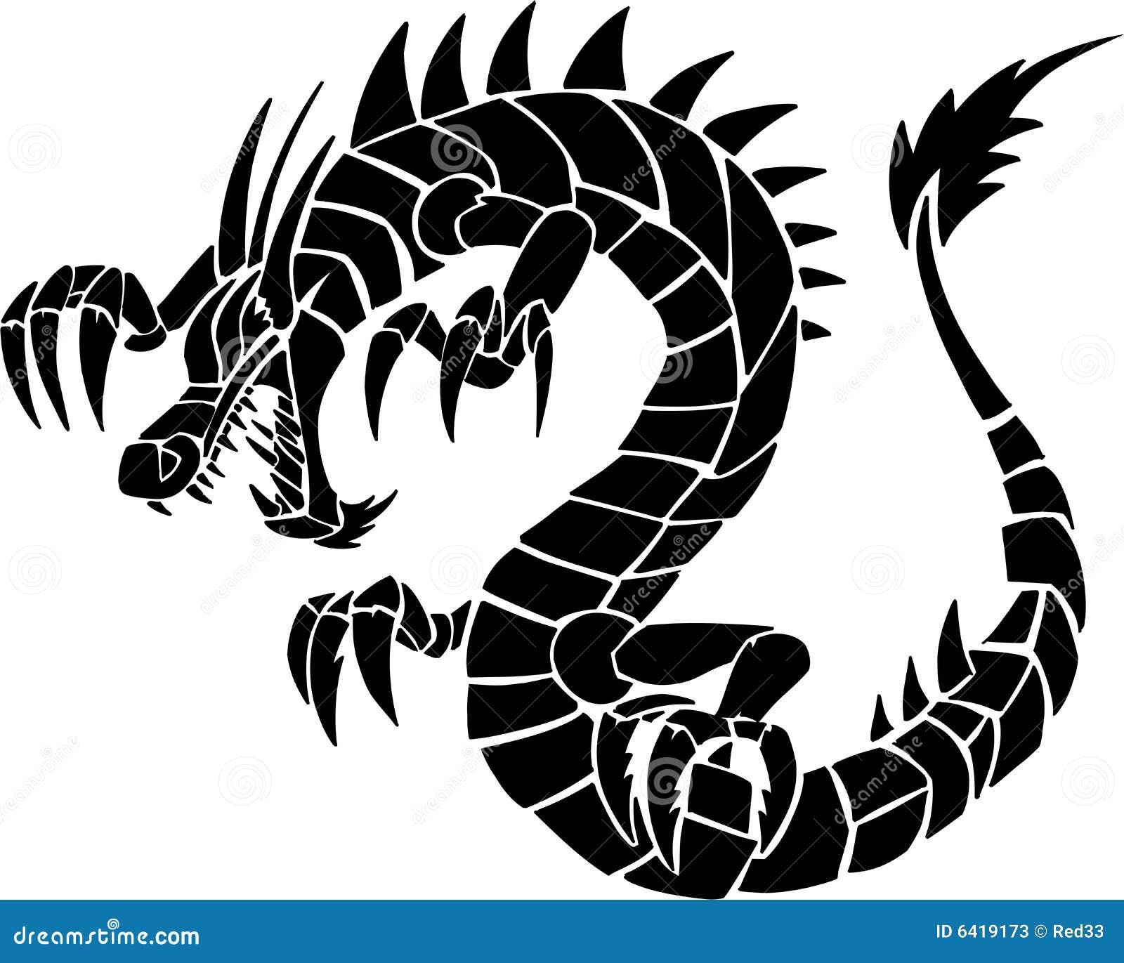 tatouage de dragon tribal photos stock image 6419173. Black Bedroom Furniture Sets. Home Design Ideas