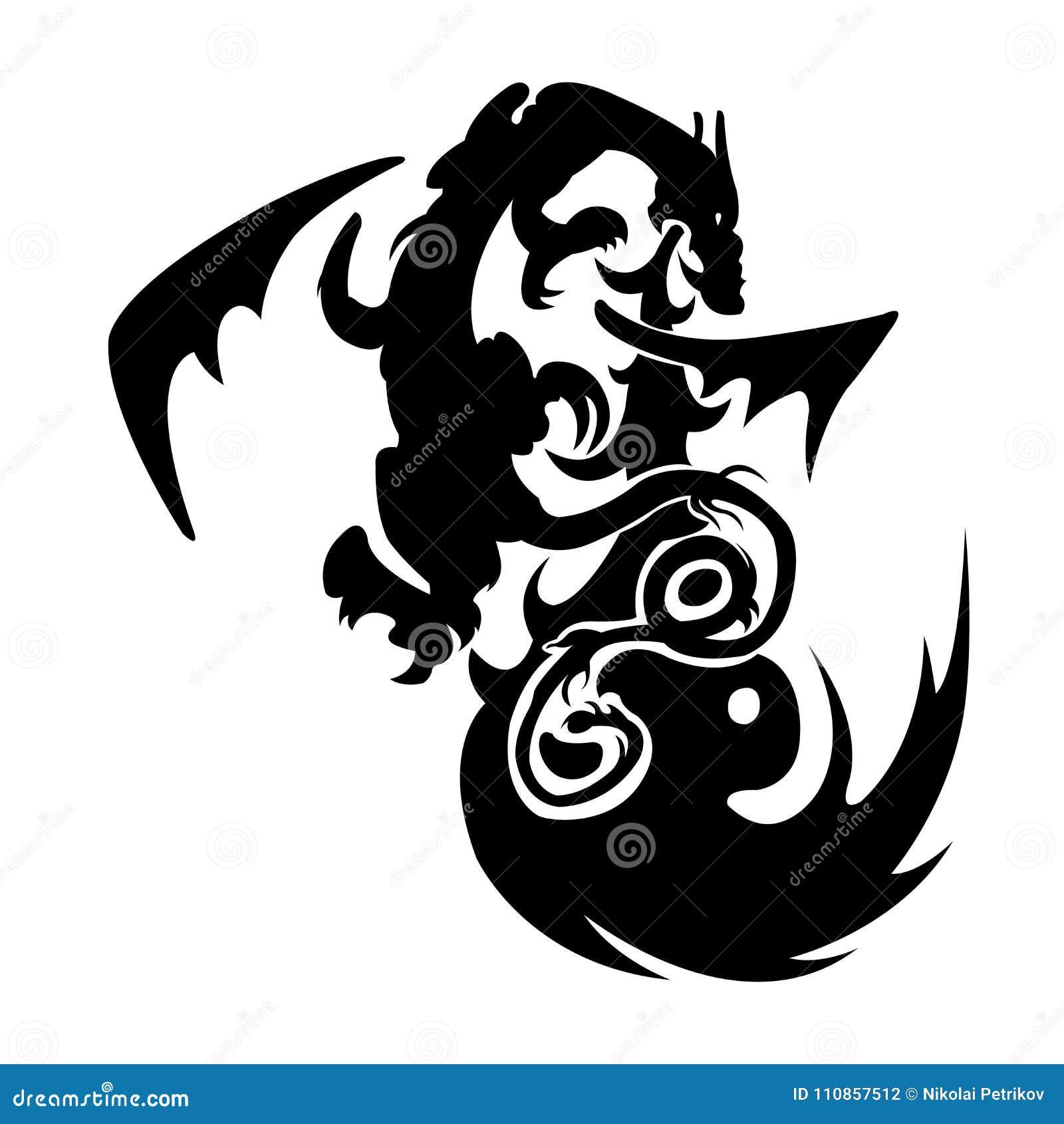 tatouage de dragon stock illustrations vecteurs. Black Bedroom Furniture Sets. Home Design Ideas