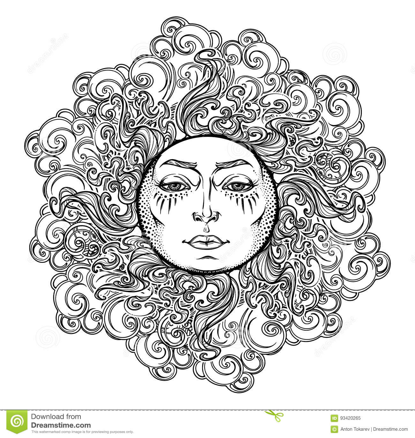 tatouage de mandala le soleil de style de conte de f es avec un visage humain entour par les. Black Bedroom Furniture Sets. Home Design Ideas