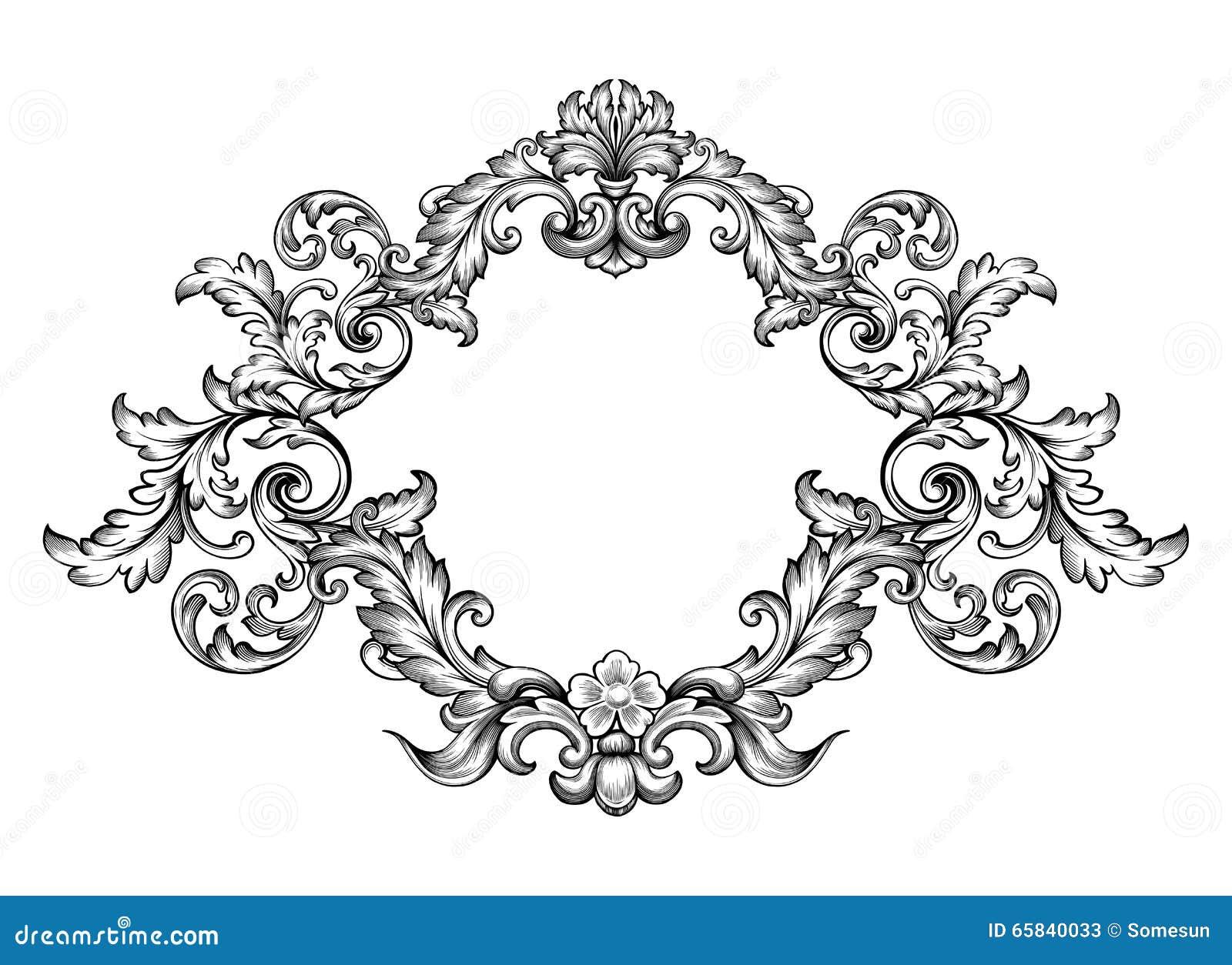 tatouage de mod le grav par rouleau victorien baroque d 39 ornement floral de monogramme de. Black Bedroom Furniture Sets. Home Design Ideas