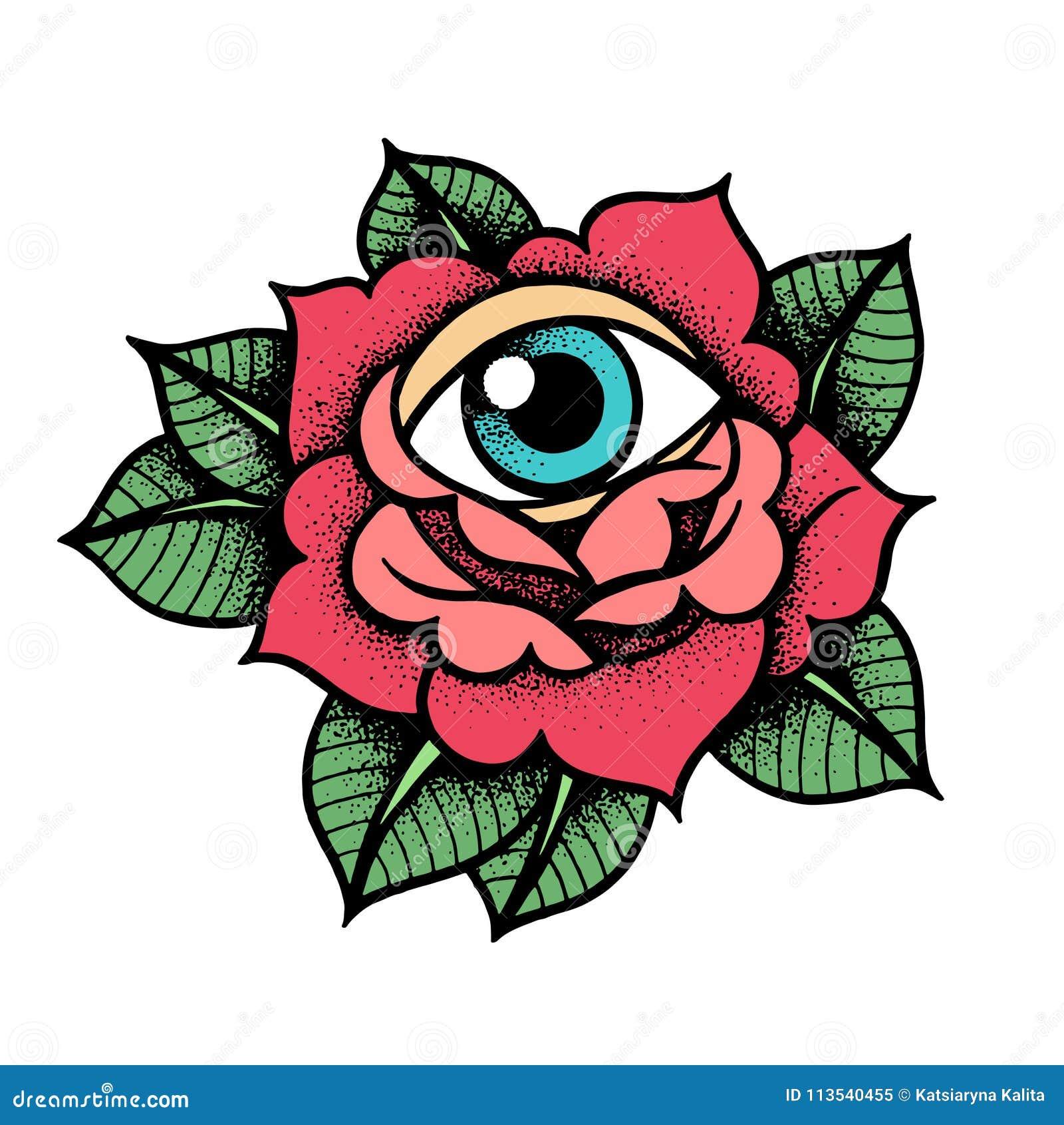Tatouage De Rose De Vieille Ecole Avec L Oeil Illustration De