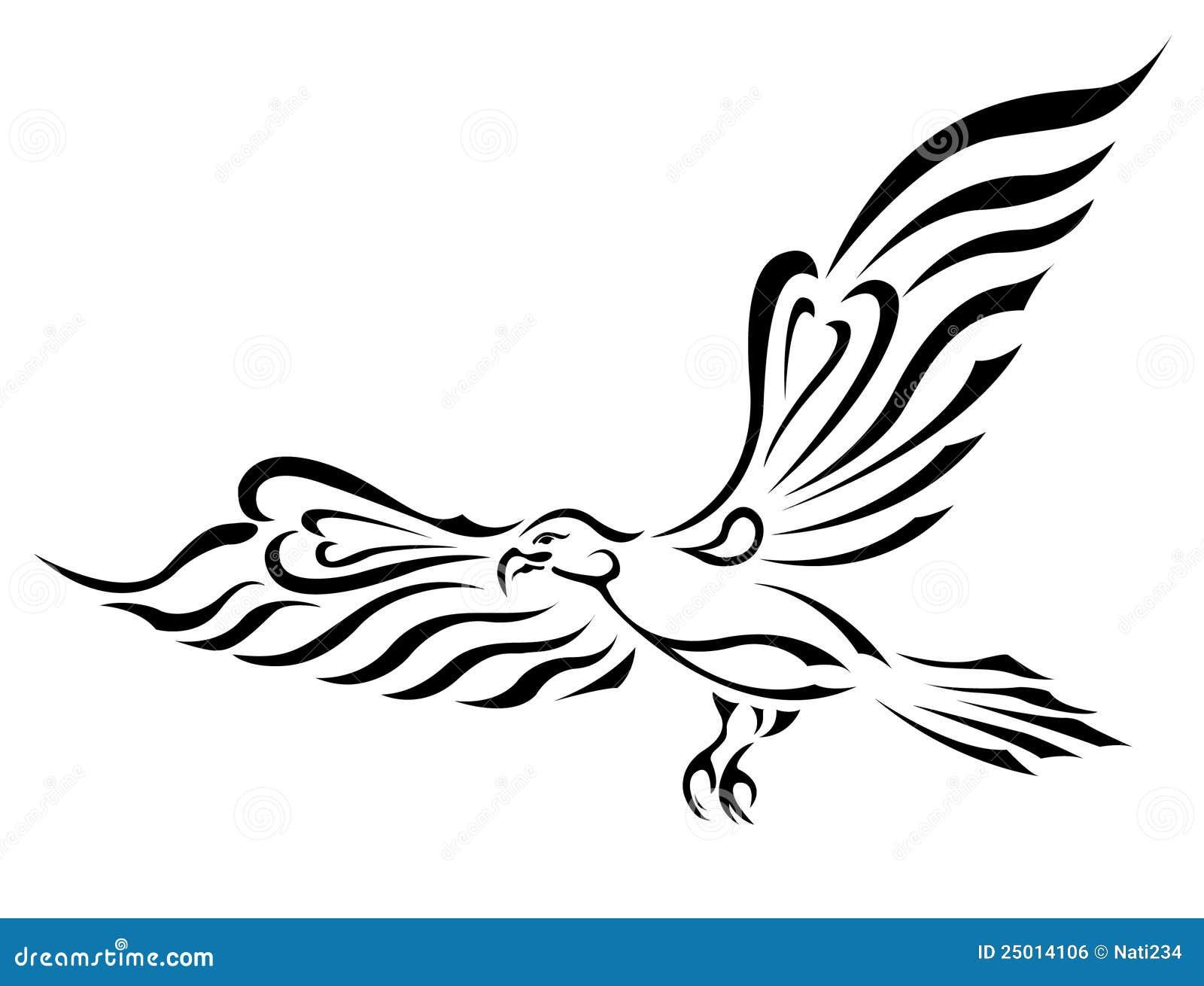 Tatouage De Symbole De Liberte Aigle De Vol Avec De Grandes Ailes