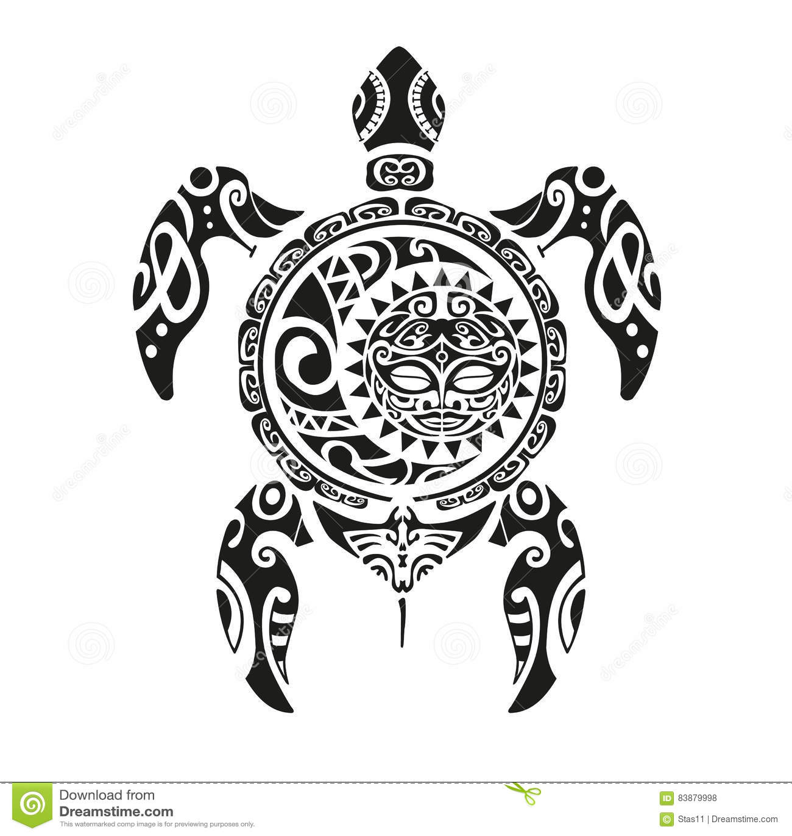 Tatouage De Tortue Dans Le Style Maori Illustration Eps10 De Vecteur