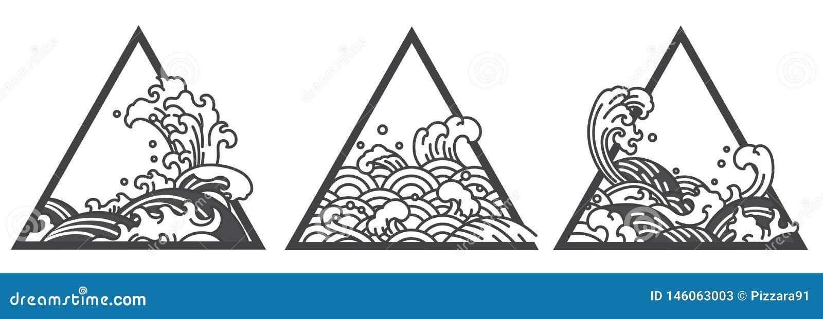 Tatouage de triangle de vague d eau du Japon