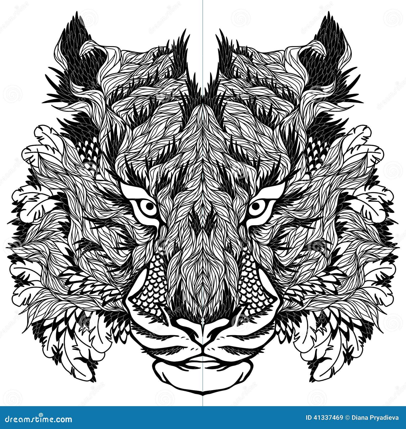 Tatouage de t te de tigre psych d lique illustration de - Mandalas de tigres ...