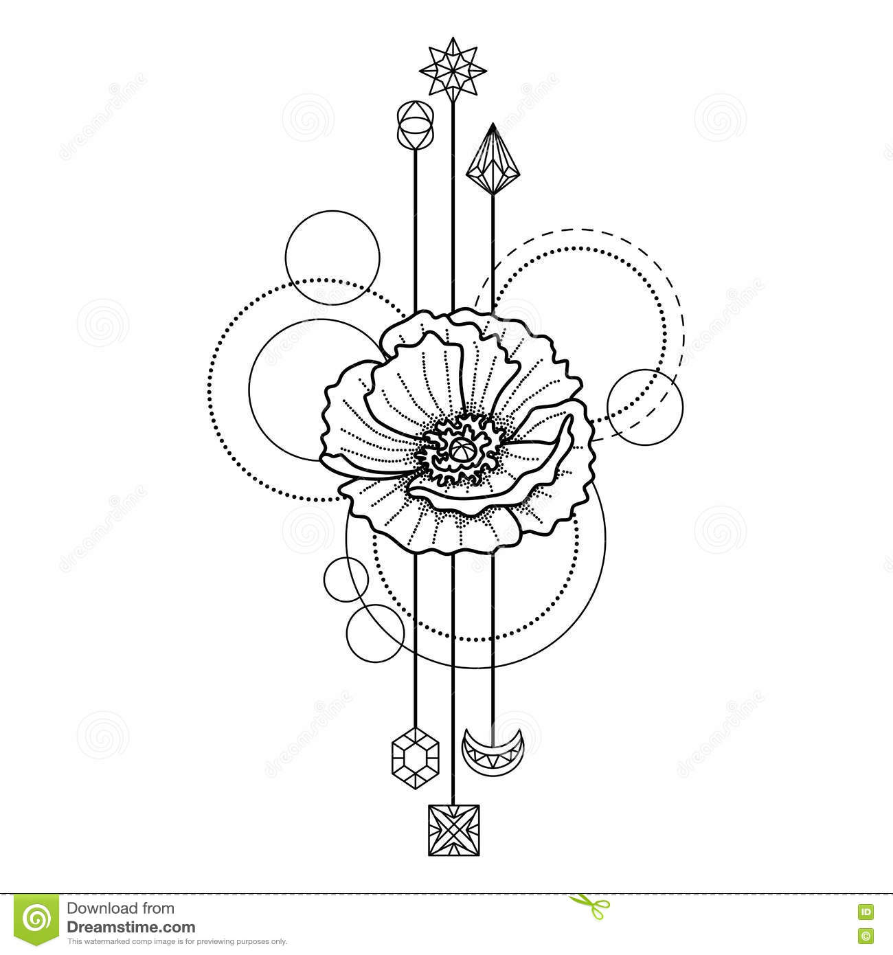 Tatouage Geometrique Floral Illustration De Vecteur Illustration