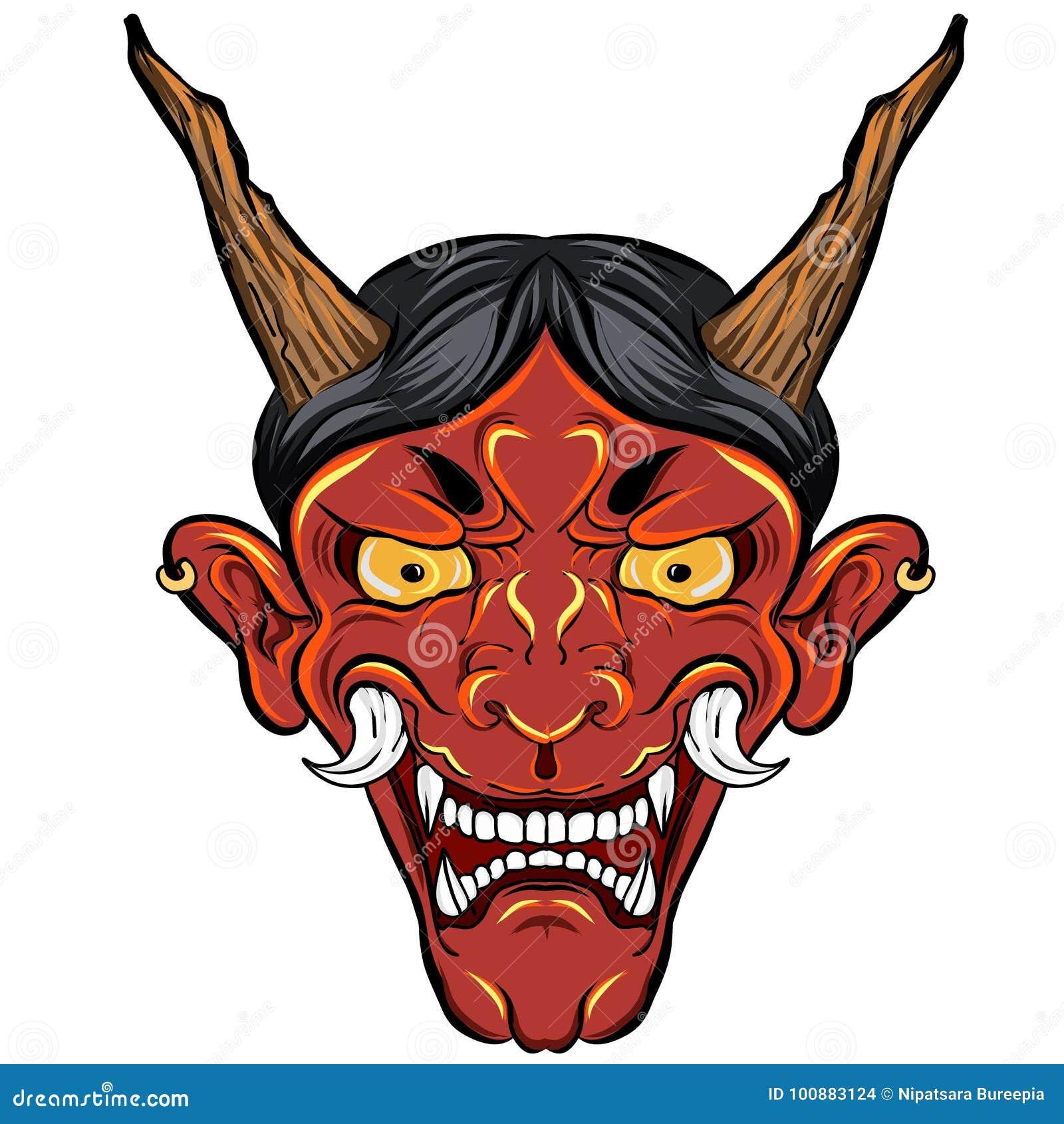 Tatouage Japonais De Masque De Demon Pour Le Bras Le Masque Tire Par