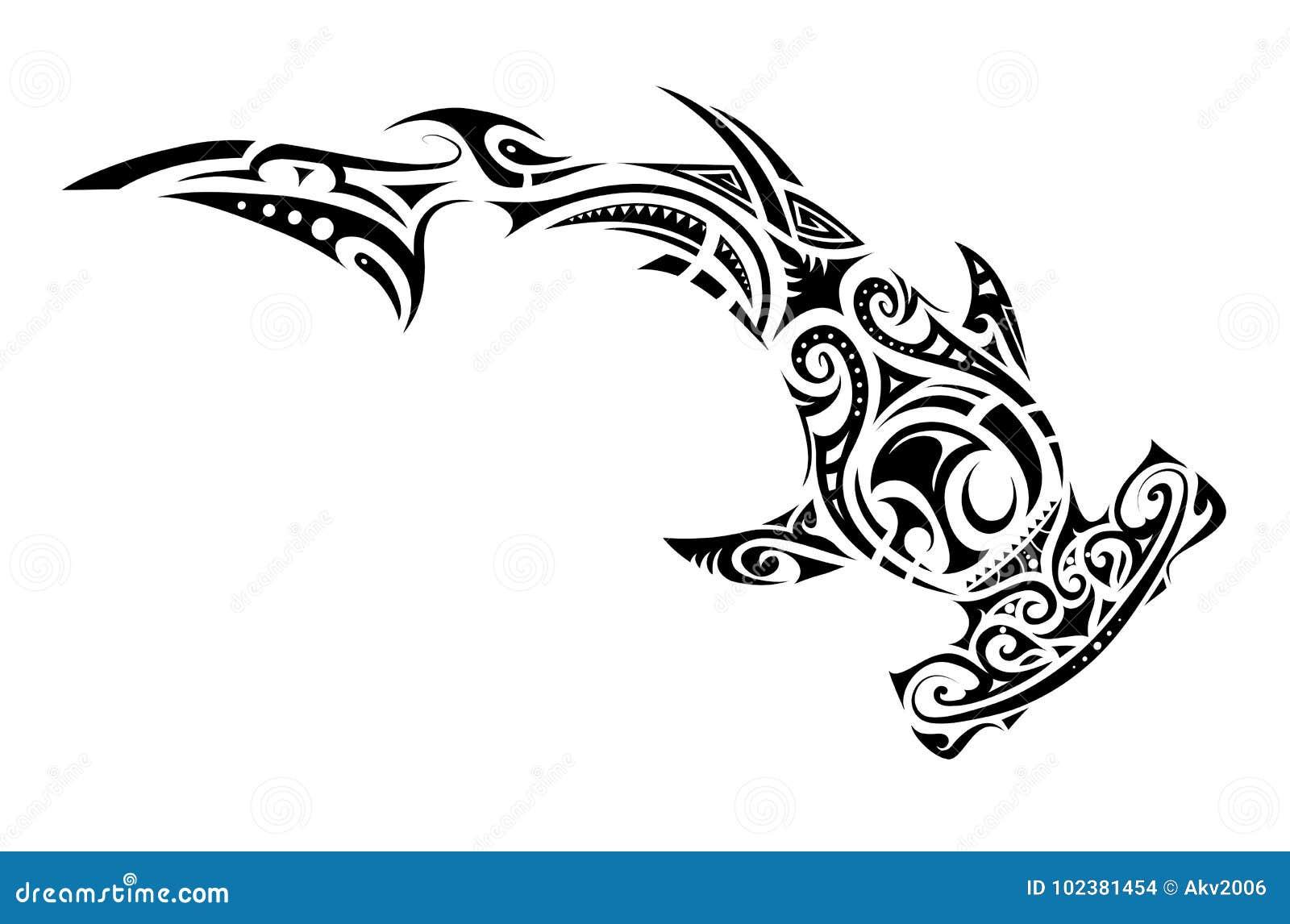 Tatouage maori de requin de marteau de style illustration - Dessin requin marteau ...