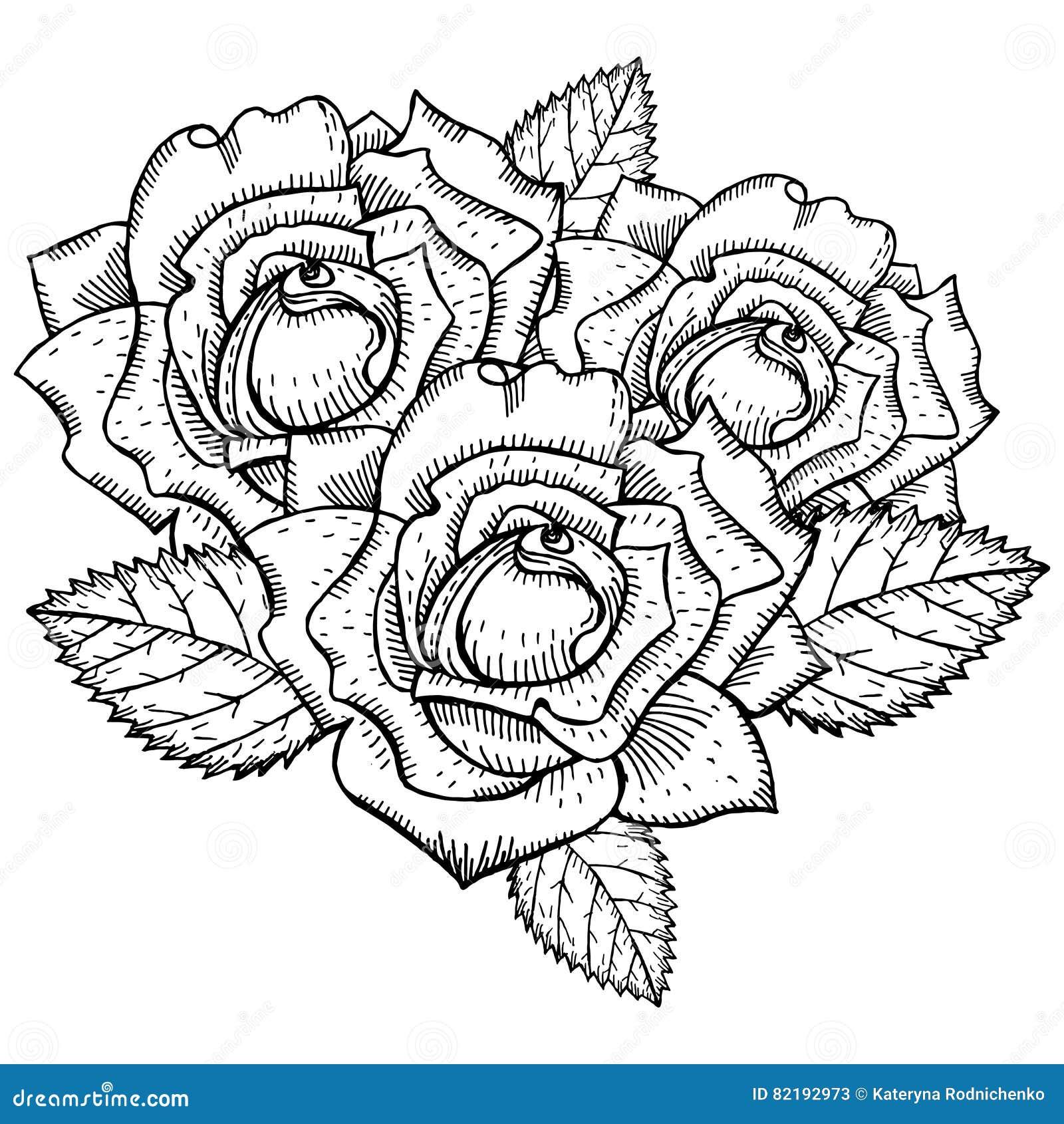 tatouage noir et blanc de dessin de roses illustration de. Black Bedroom Furniture Sets. Home Design Ideas
