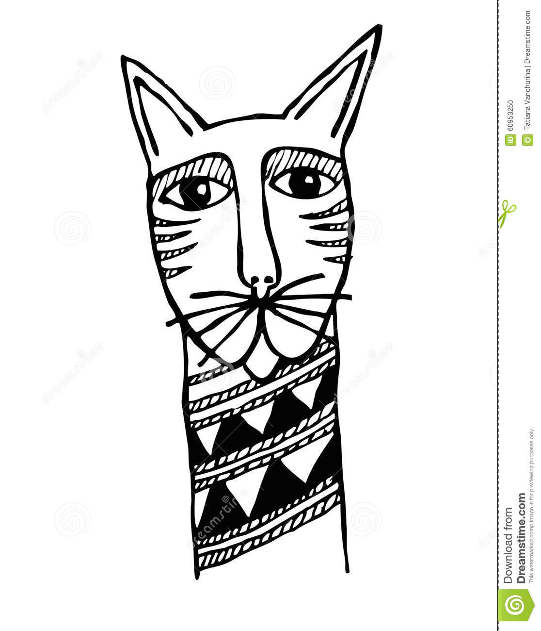 Tatouage Primitif Principal De Chats Illustration De Vecteur