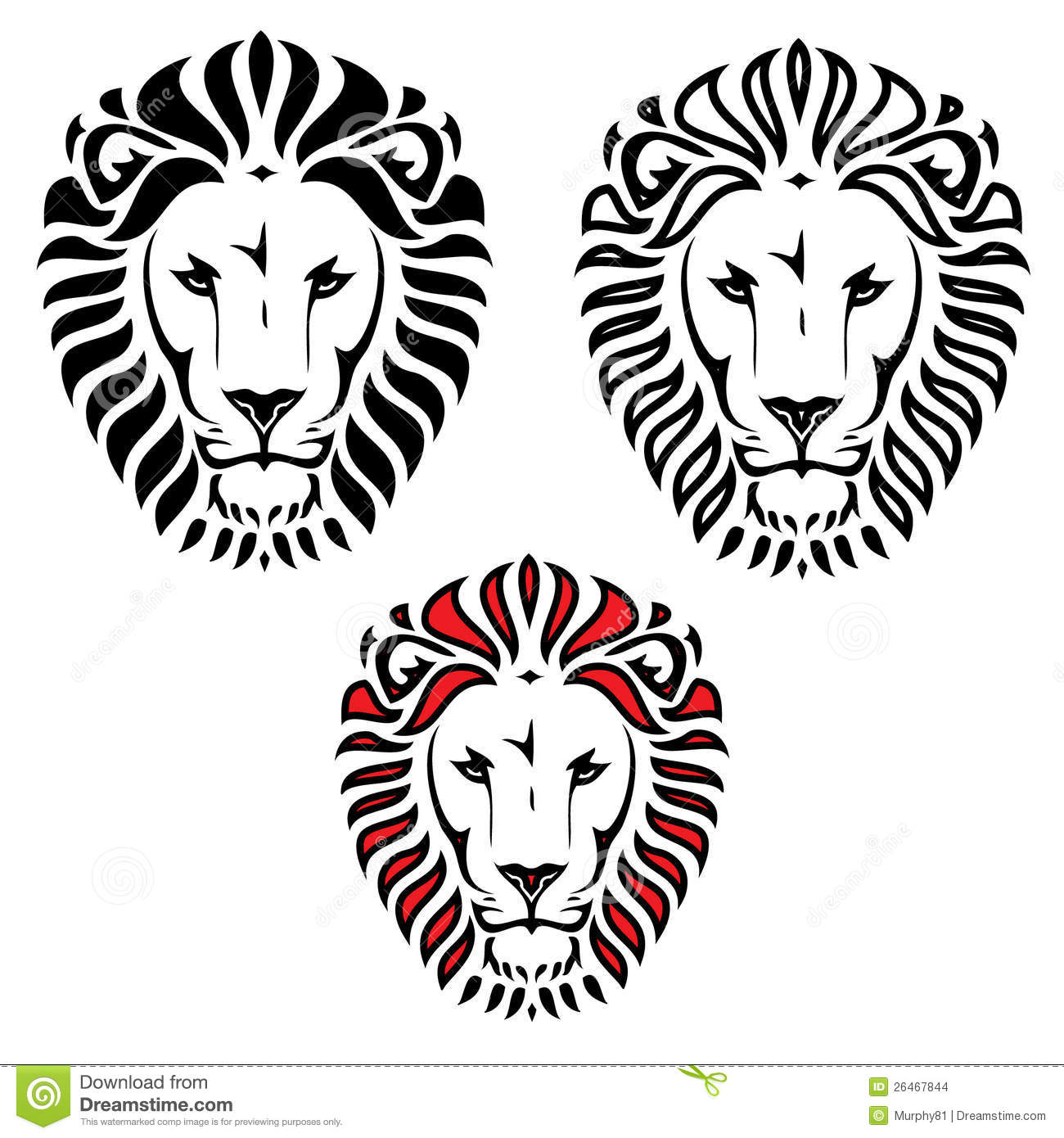 tatouage principal de lion illustration de vecteur illustration du furieux 26467844. Black Bedroom Furniture Sets. Home Design Ideas