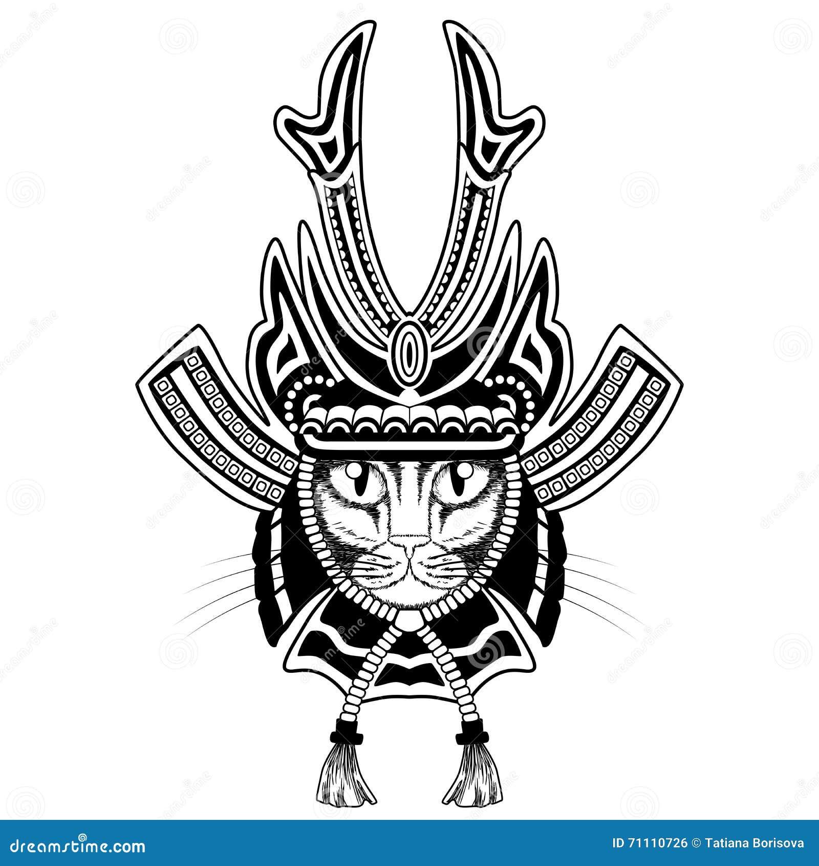 Tatouage Samourai De Chat Illustration De Vecteur Illustration Du