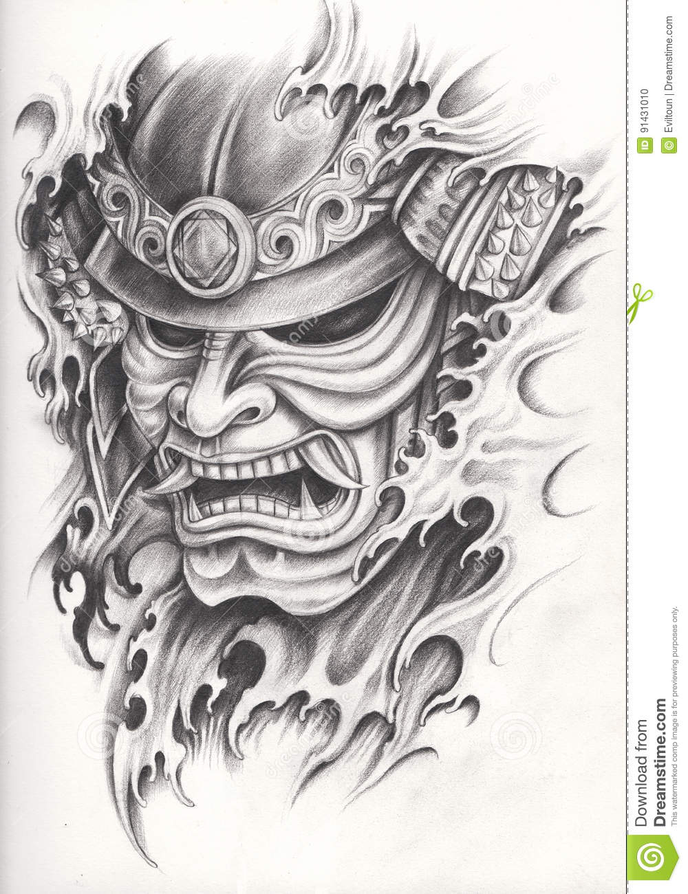 Tatouage Samourai De Guerrier Illustration Stock Illustration Du