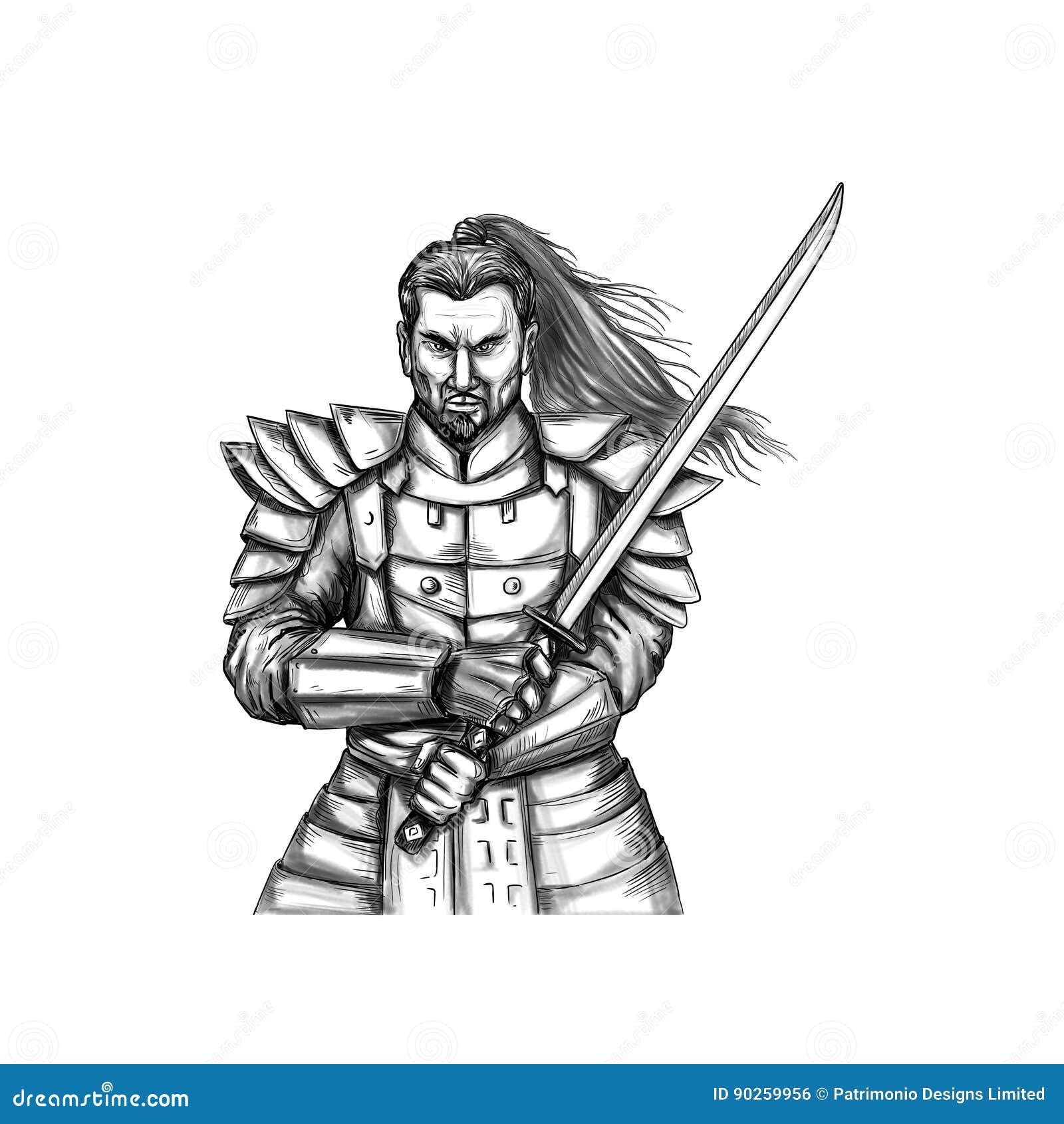 Tatouage Samourai De Position De Combat De Guerrier Illustration