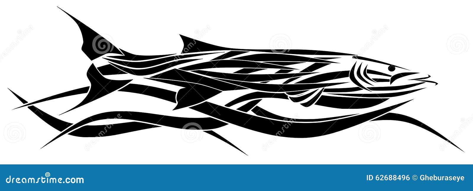 Tatouage stylisé de barracuda d isolement