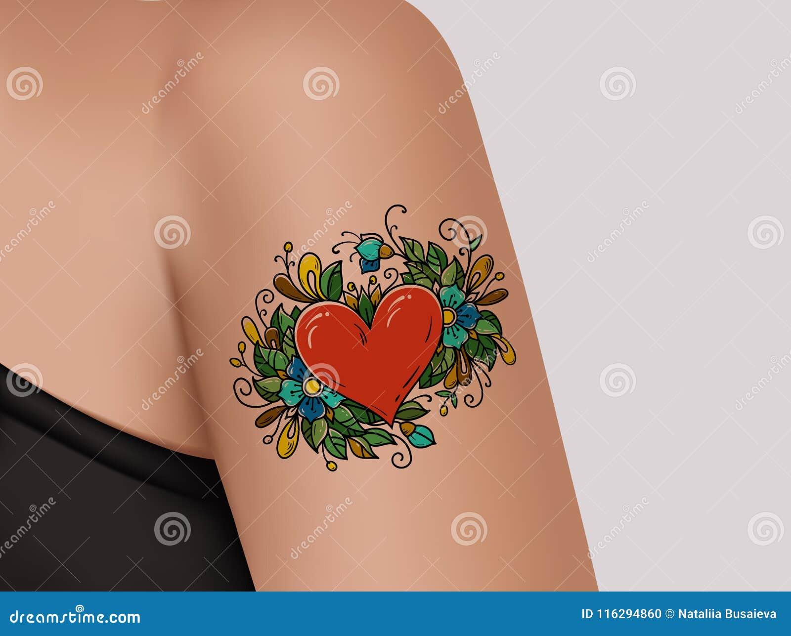 Tatouage Sur L Epaule Coeur Decore Des Fleurs Illustration Stock