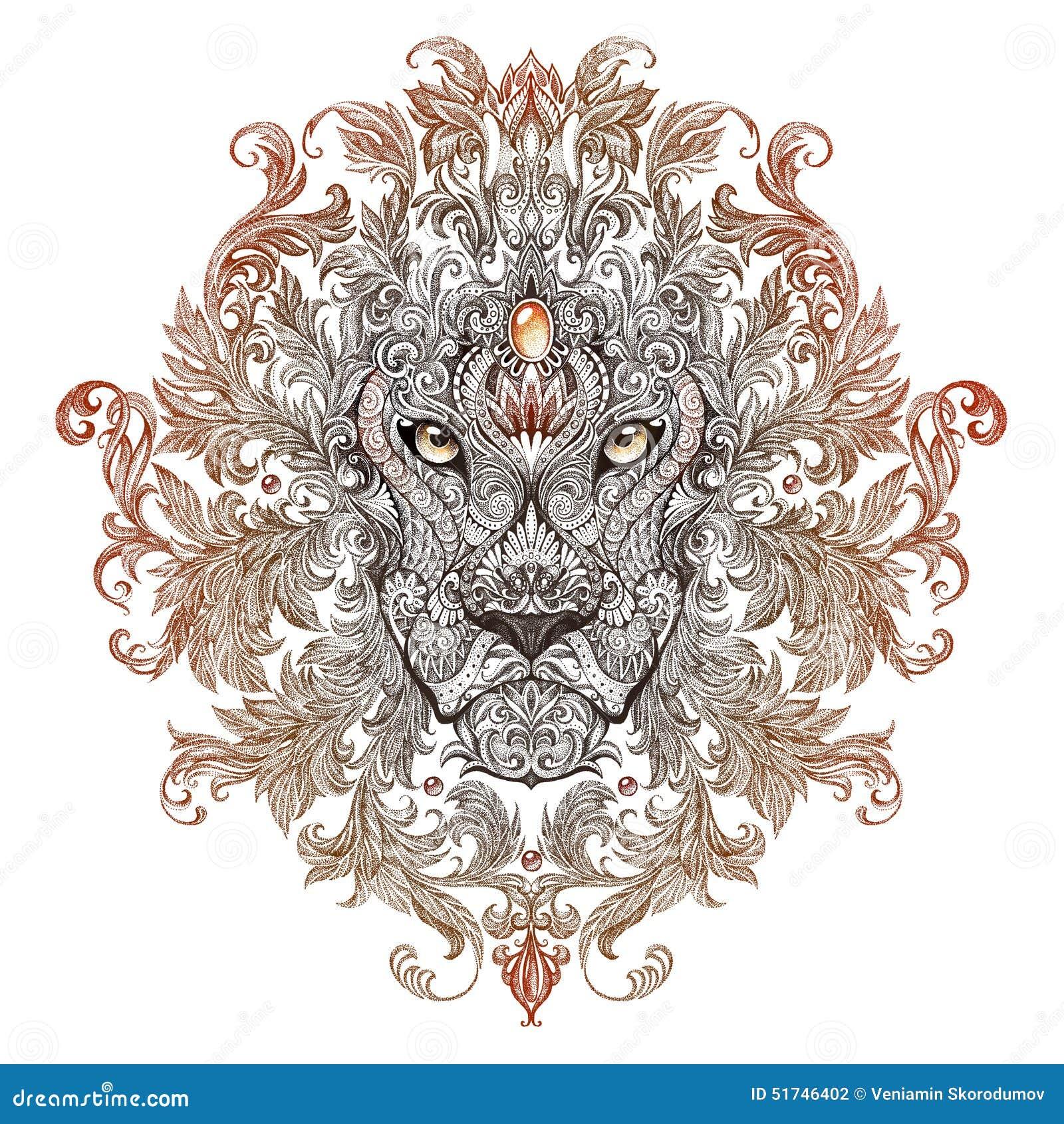 Tatouage t te de graphiques d 39 un lion avec une crini re - Tete de lion tatouage ...