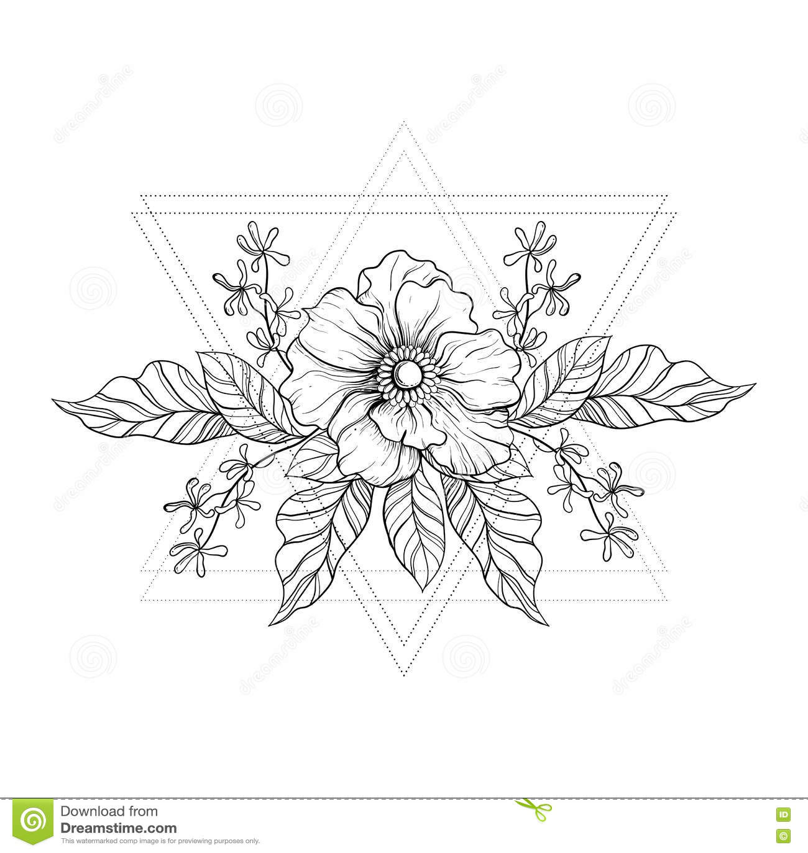 Tatouage Tire Par La Main De Boho Fleur De Blackwork Dans Des