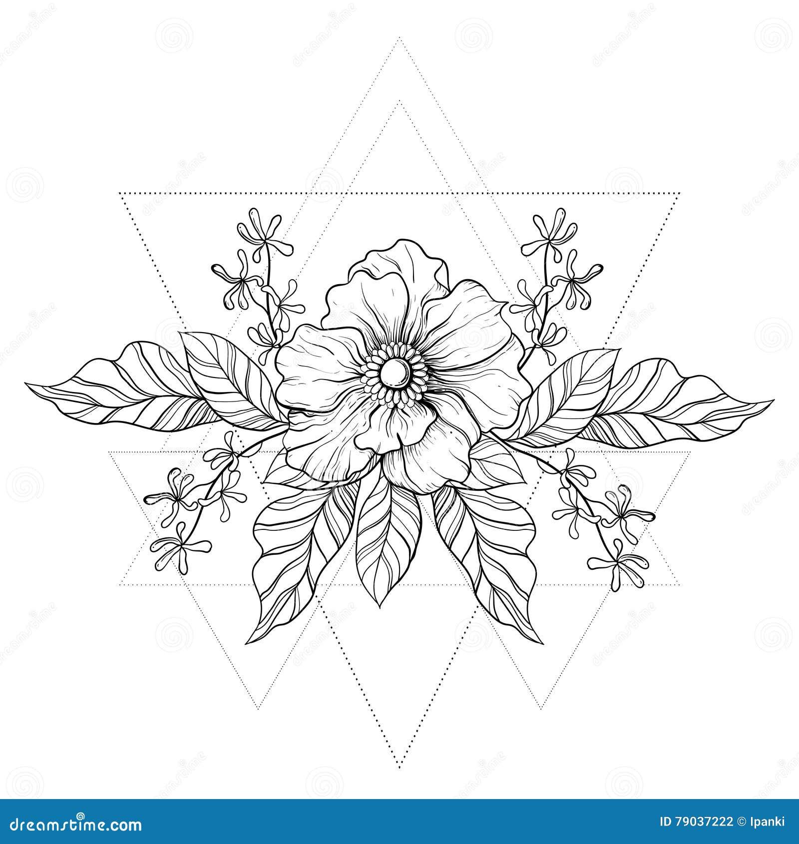 Tatouage Tire Par La Main De Boho Fleur De Blackwork Dans Les
