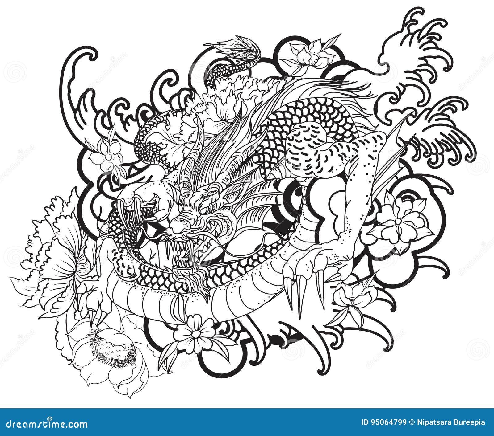 tatouage tir par la main de dragon style japonais de livre de coloriage illustration de. Black Bedroom Furniture Sets. Home Design Ideas