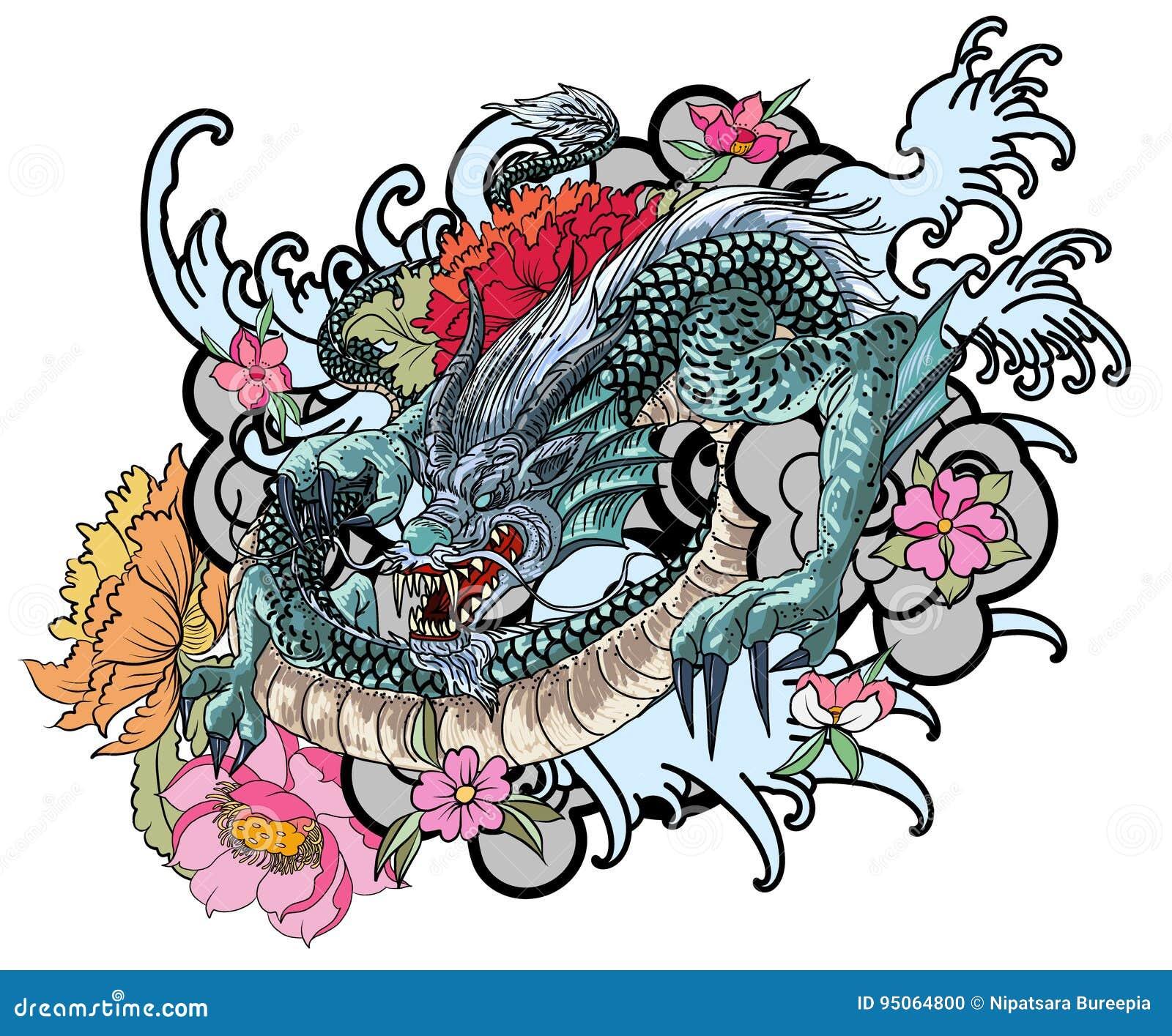 pic du tatouage de dragon asiatique. Black Bedroom Furniture Sets. Home Design Ideas