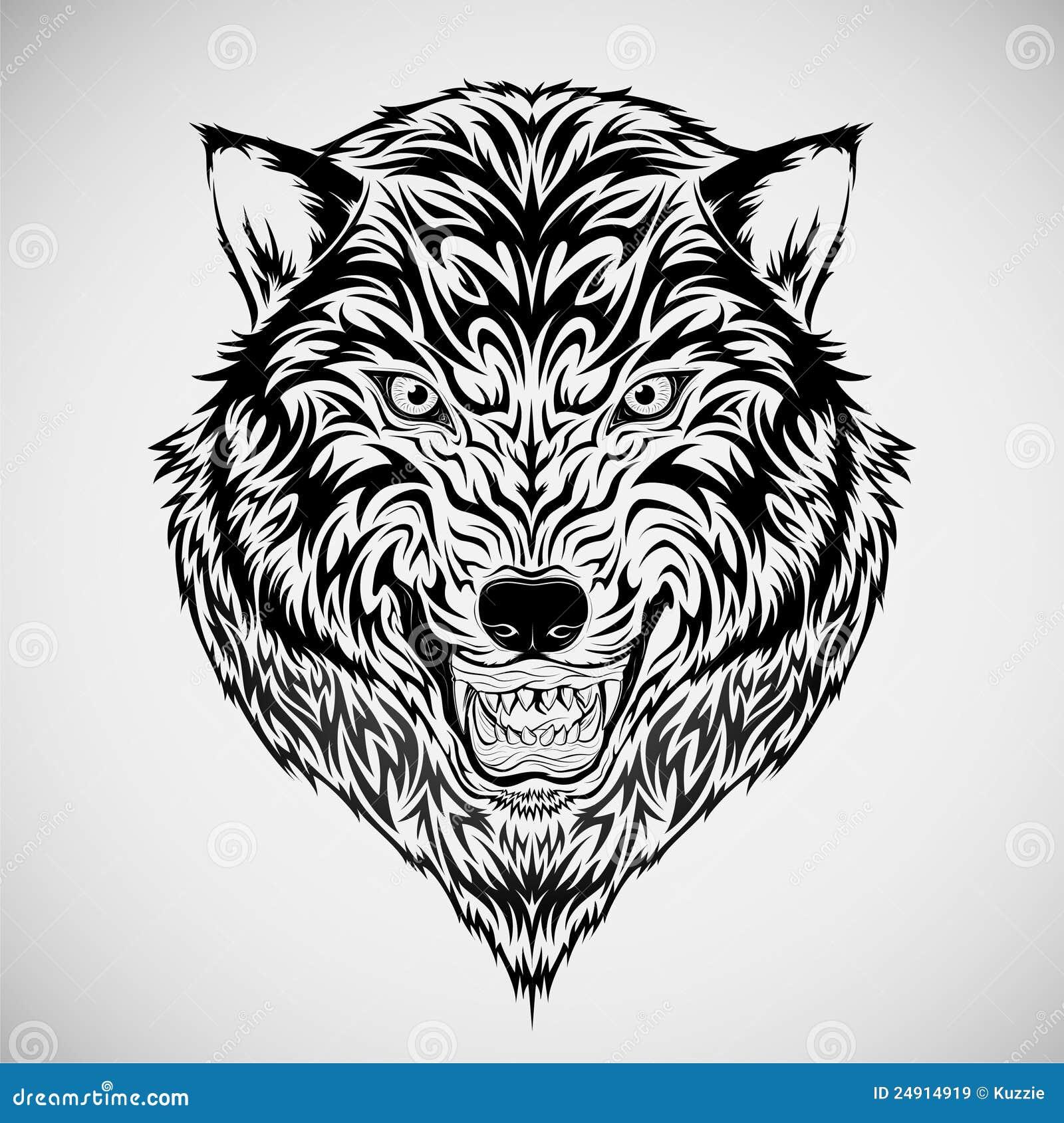 Tatouage tribal de t te de loup images libres de droits image 24914919 - Tete de loup tatouage ...