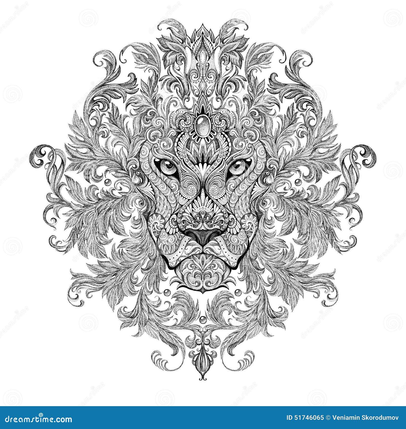 Tatouage t te de graphiques d 39 un lion avec une crini re illustration stock image 51746065 - Tete de lion tatouage ...