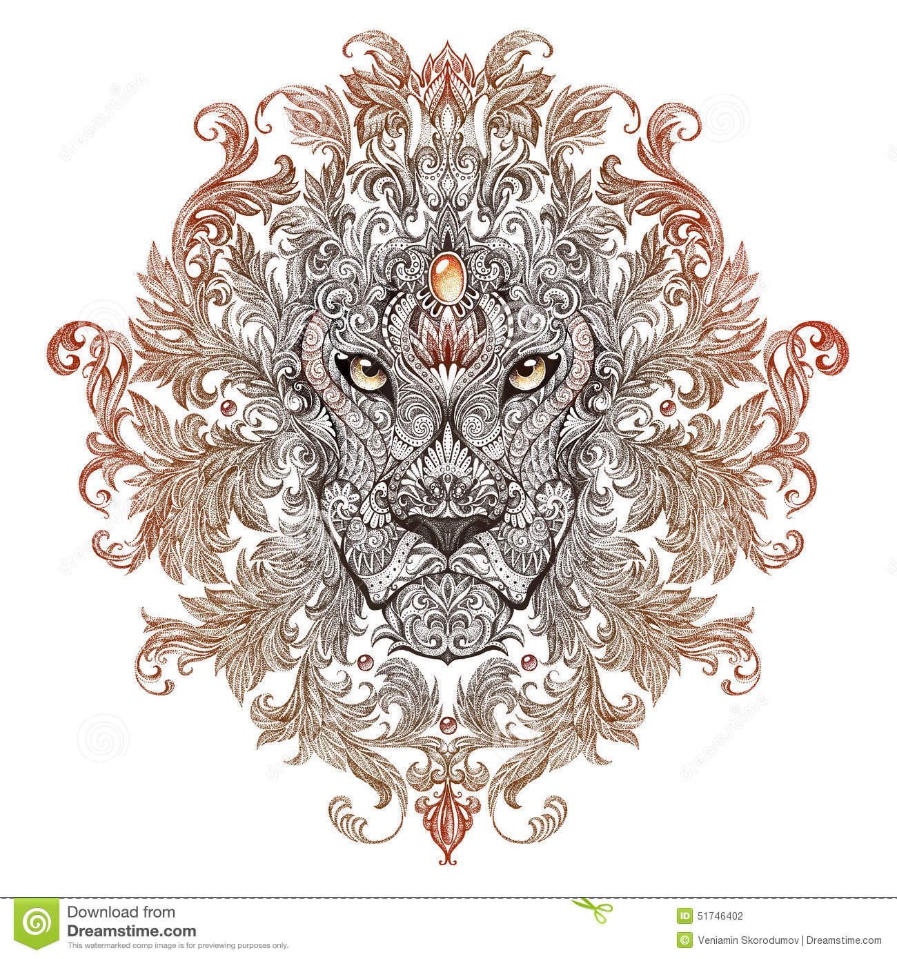 tatouage t te de graphiques d 39 un lion avec une crini re illustration stock image 51746402. Black Bedroom Furniture Sets. Home Design Ideas