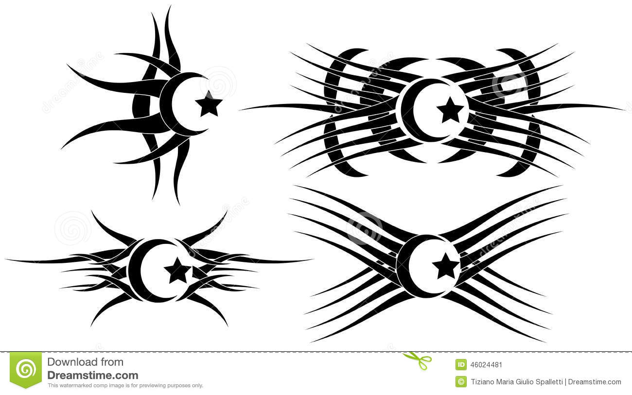 Tatouages De Lune Et D Etoile Regles D Isolement Illustration Stock