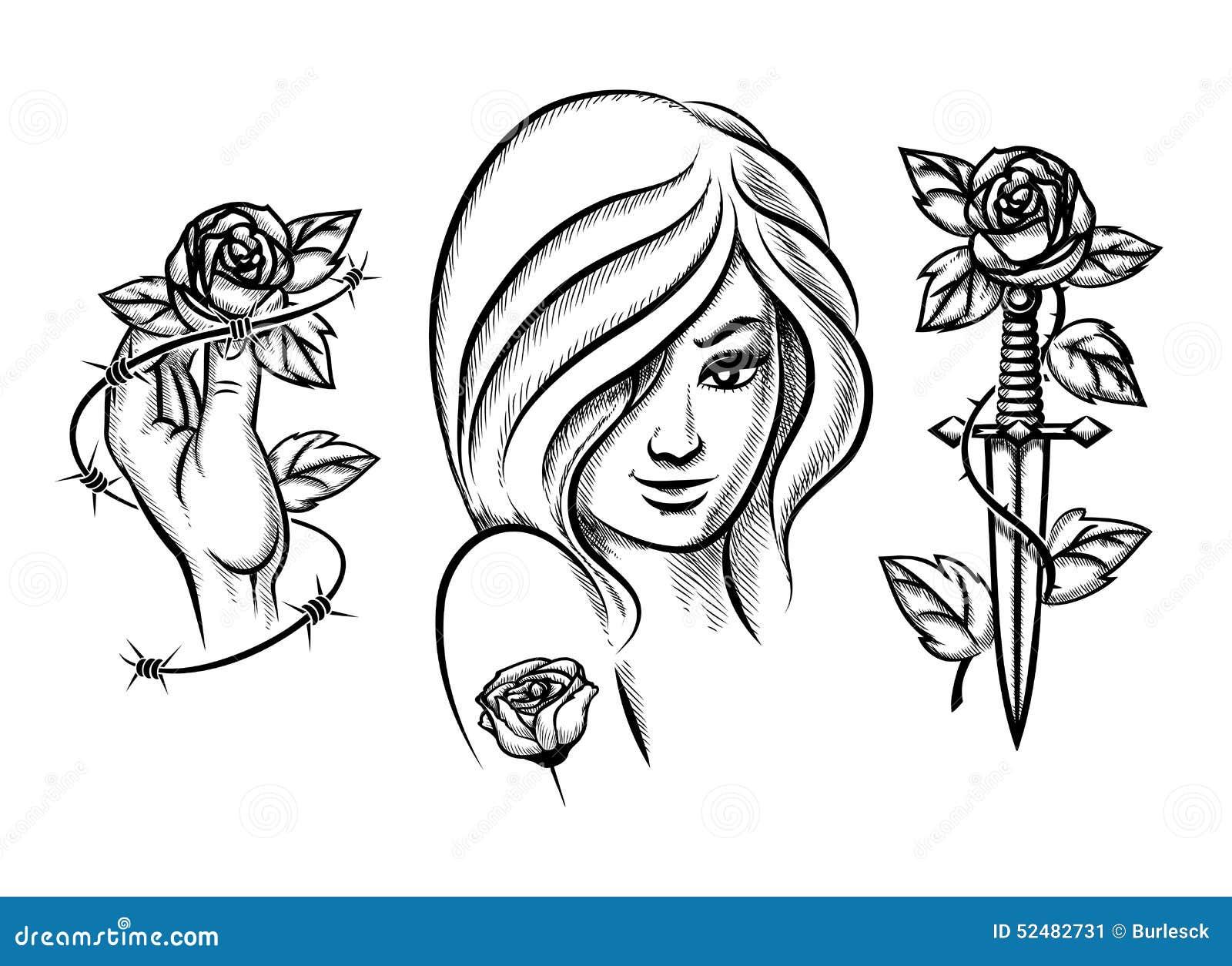 Tatouages Fille De Beaut 233 Couteau Rose Et Barbel 233 Illustration De Vecteur Image 52482731