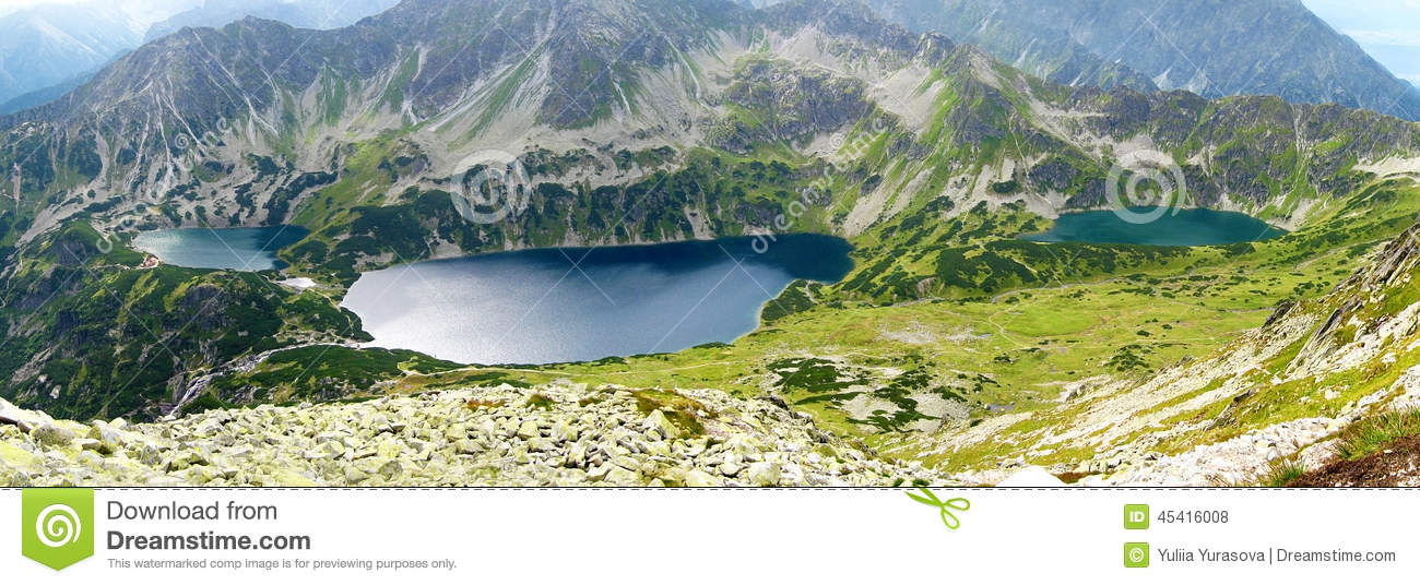Tatra mountains in Poland, green hill, lake and rocky peak in the sunny day with clear blue sky