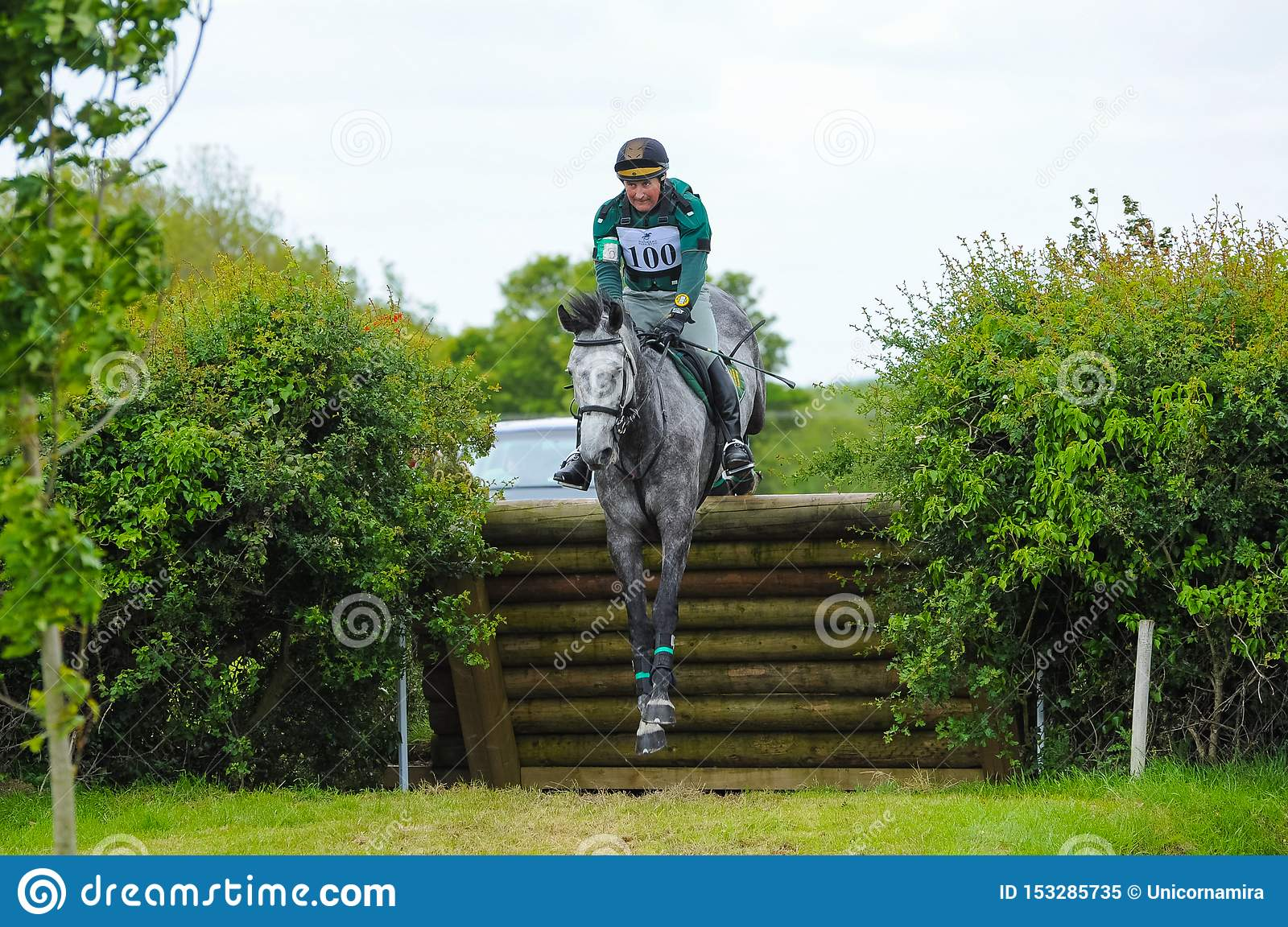Tattersalls Horse Show In Ireland Dark Grey Horse Jumping Over Obstacle With Male Rider Jockey Editorial Image Image Of Field Thoroughbred 153285735
