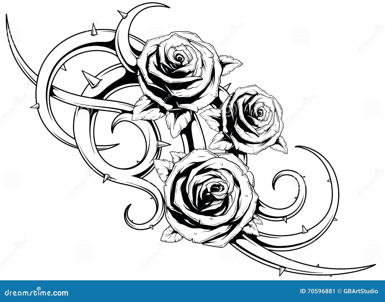 Tatto Blanco Y Negro De Las Rosas Ilustración Del Vector