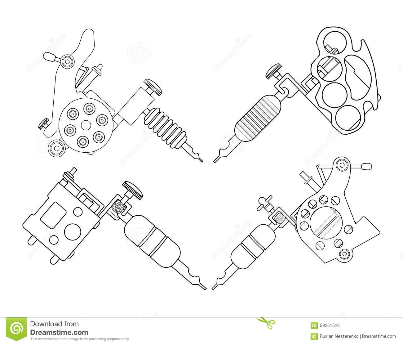 Tattoo Machine Line Drawing : Tatto machines contour stock vector image of paint
