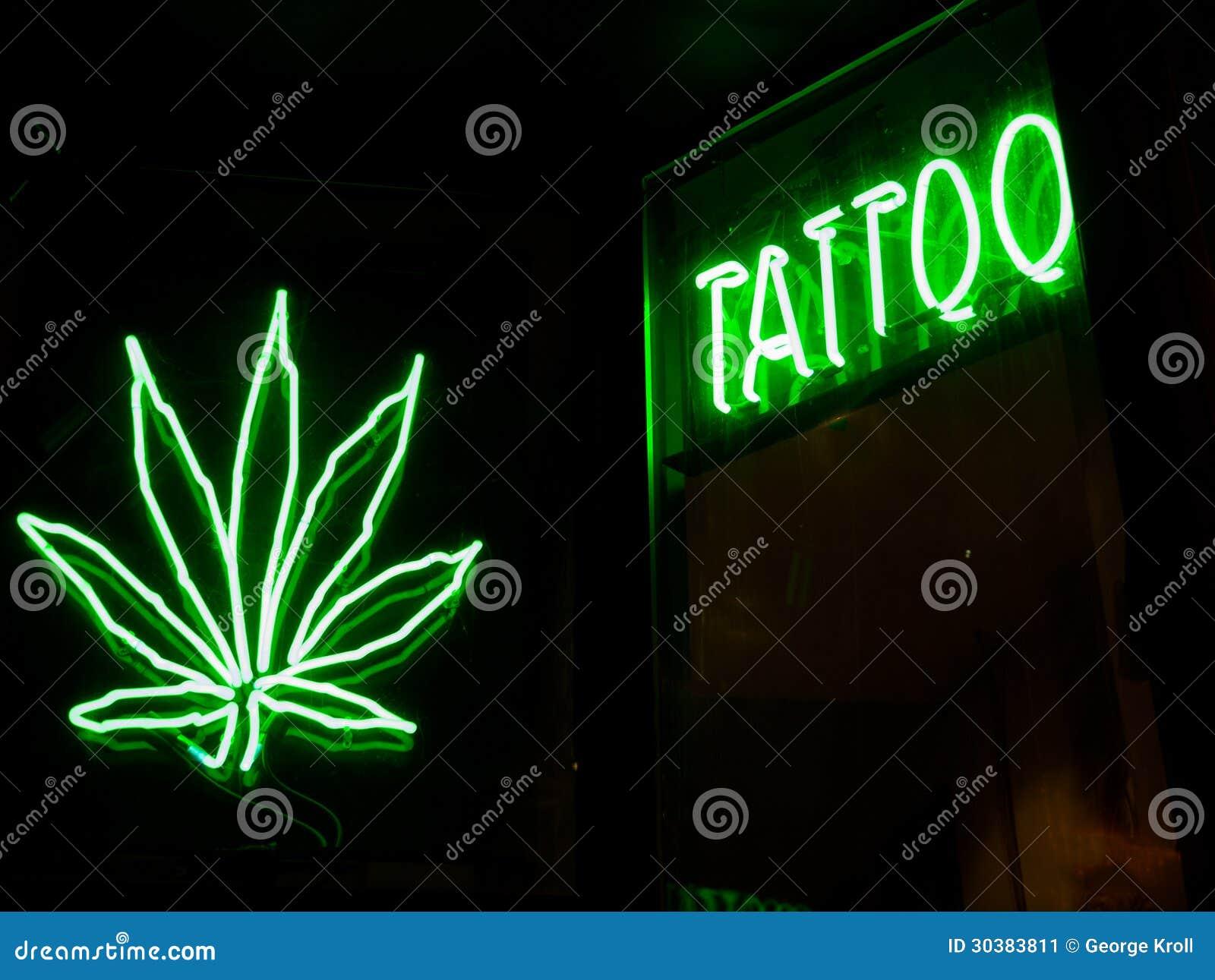 Tatto And Marijuana Neon Signs Stock Image Image Of Leaf