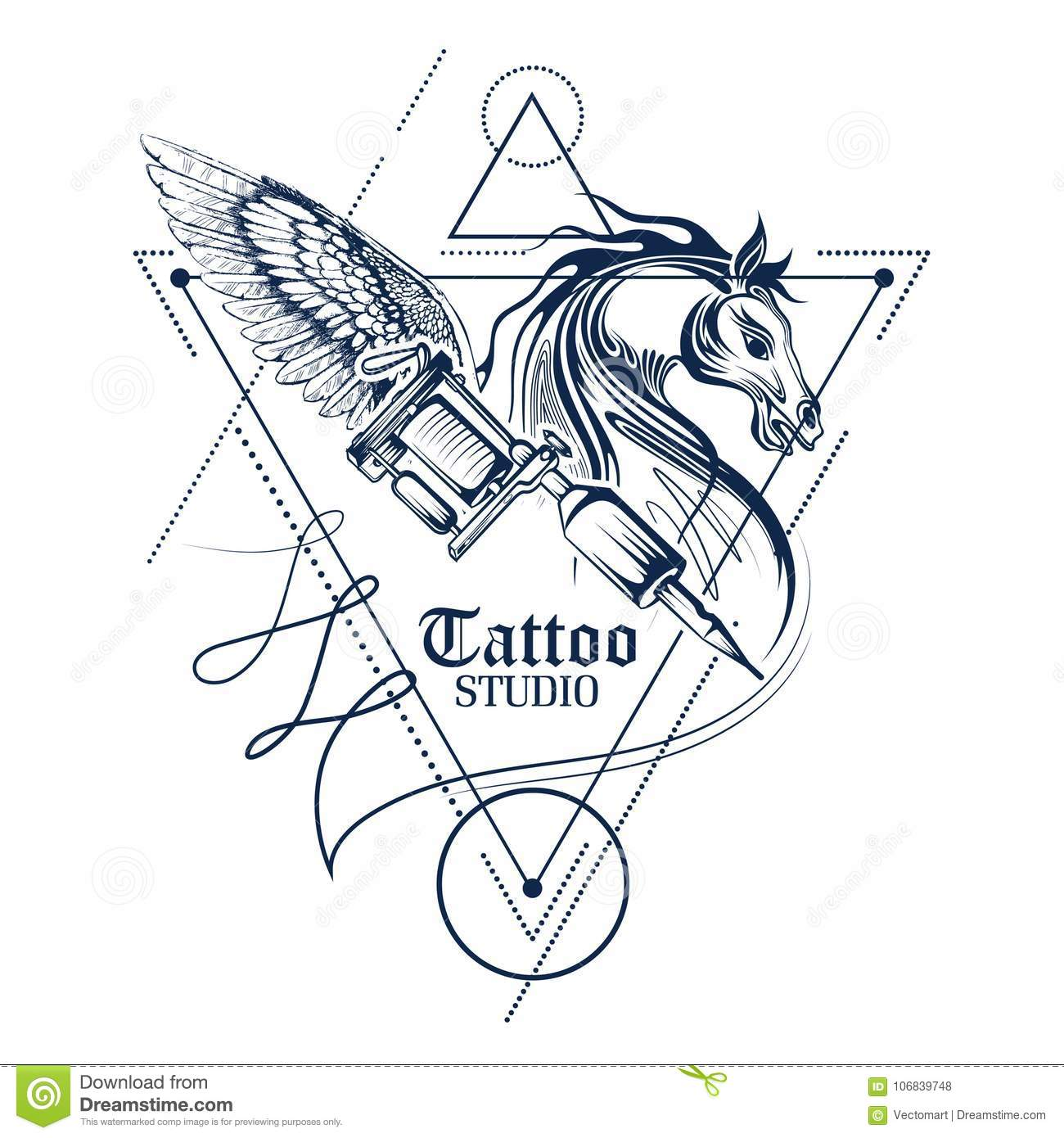 Tattoo Art Design Of Horse Line Art Style Stock Vector Illustration Of Mare Equipment 106839748