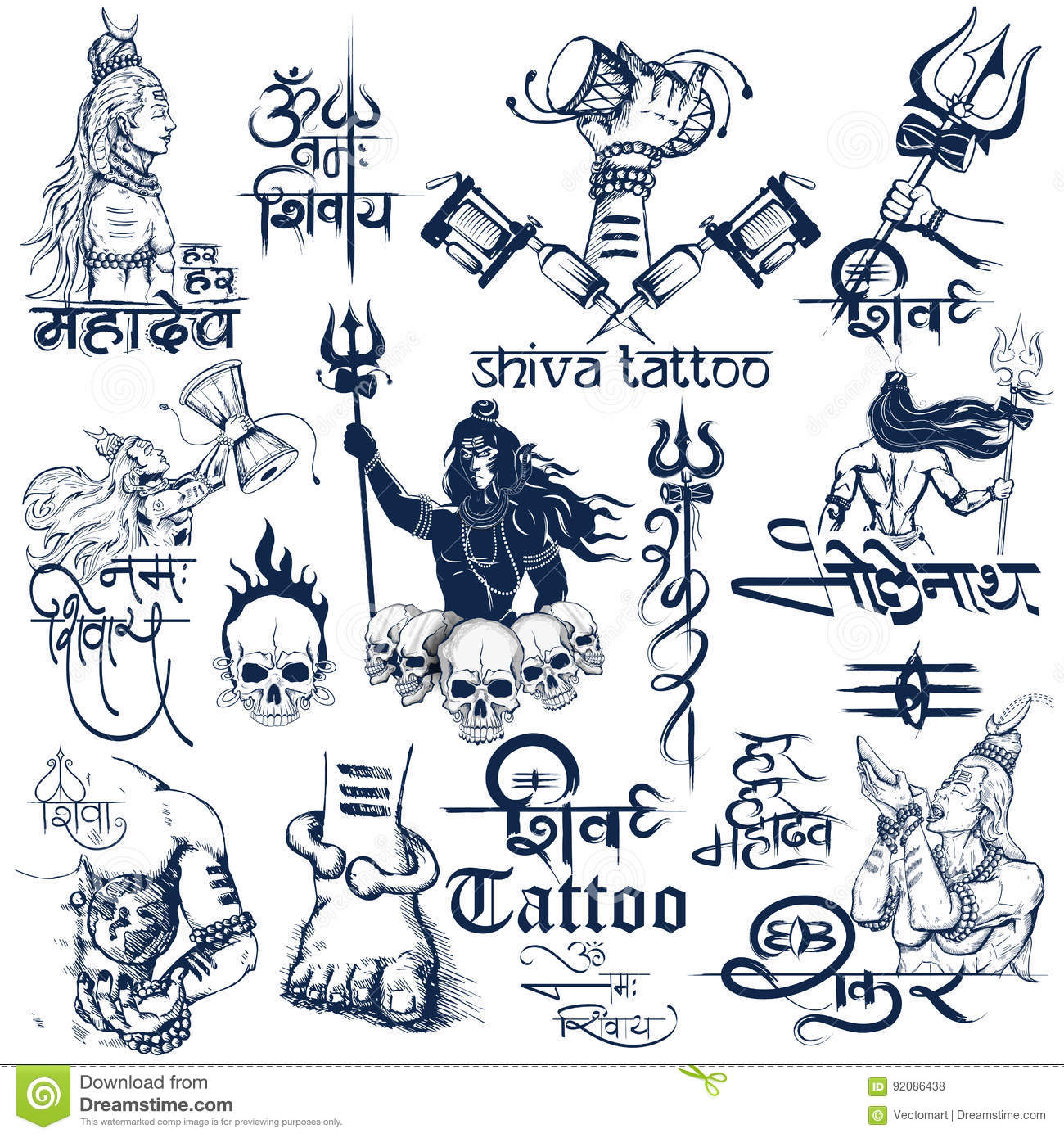 Illustration of tattoo art design of lord shiva collection with text in hindi namah shivaya i bow to shiva for mahashivratri