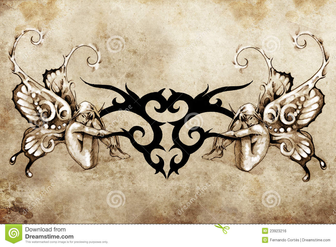 Art Design : Tattoo art design tribal with two nymphs stock