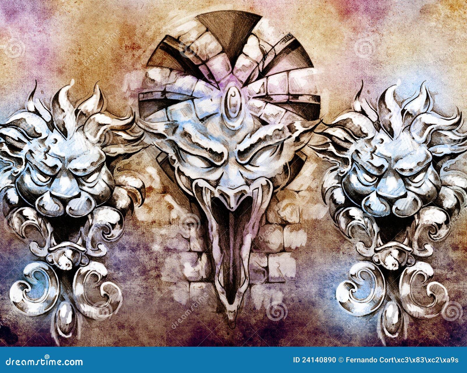 tattoo art fantasy medieval gargoyle stock photo image 24140890. Black Bedroom Furniture Sets. Home Design Ideas