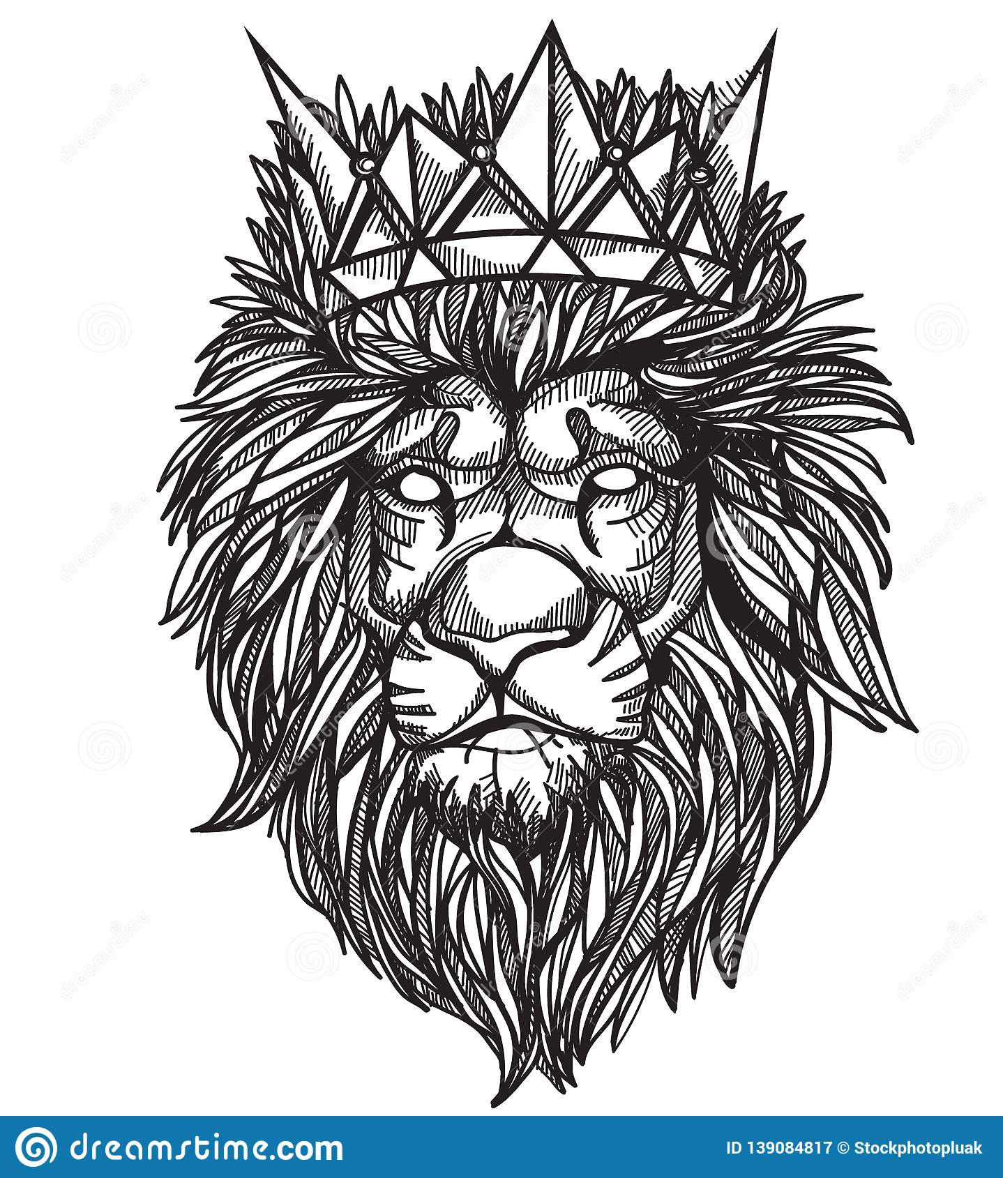 Tattoo art lion hand drawing and sketch black and white