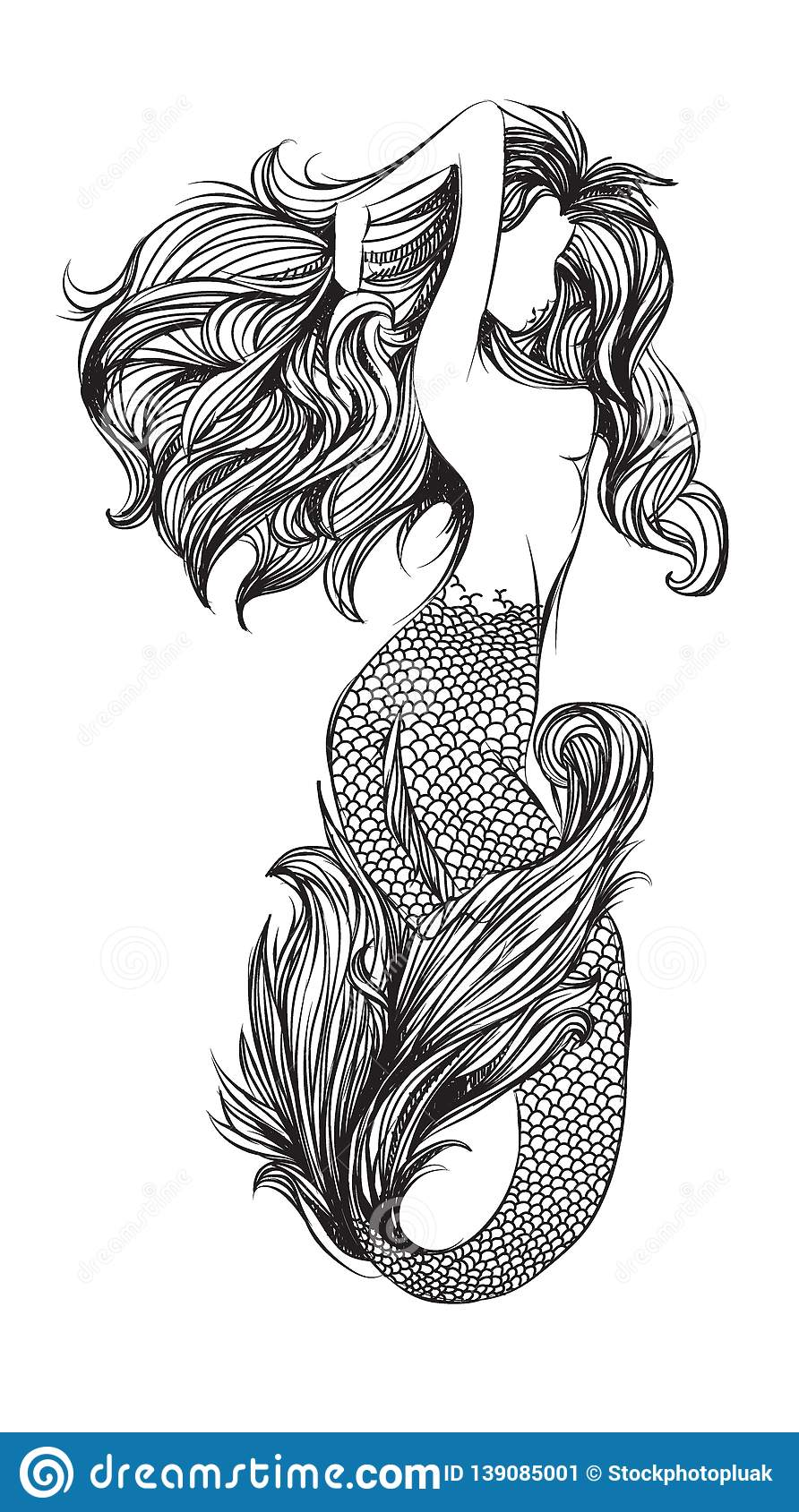 Tattoo art mermaid hand drawing and sketch black and white