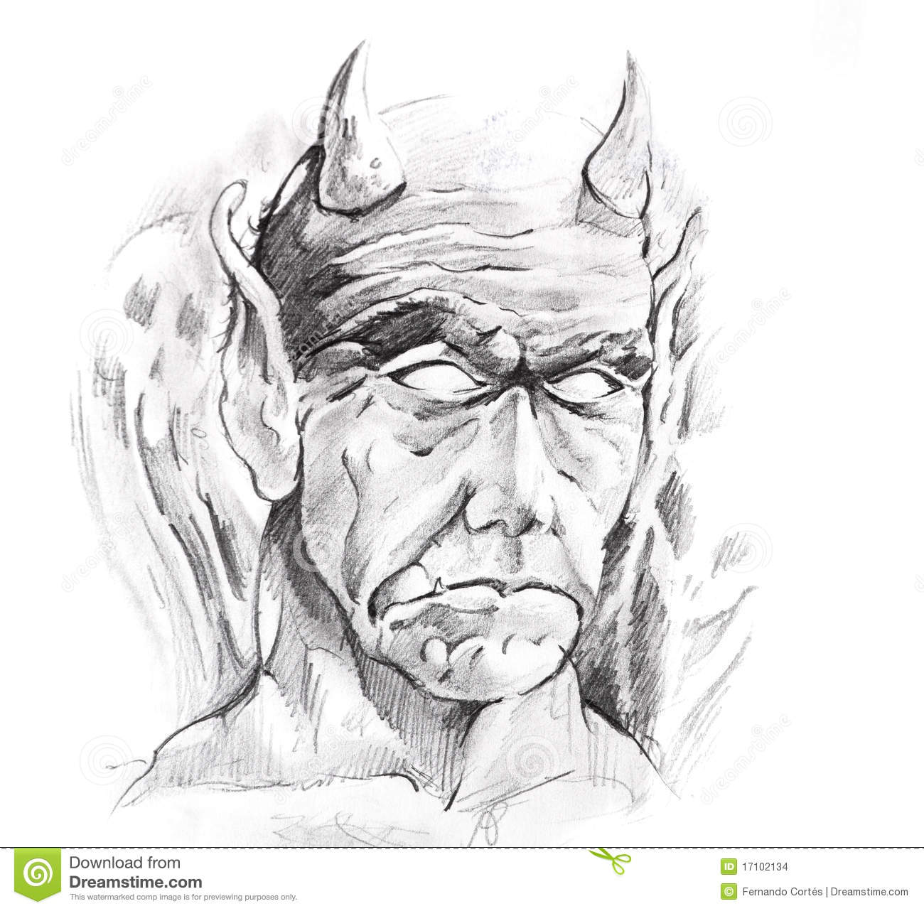 Devil Face Line Drawing : Tattoo art sketch of a devil stock images image
